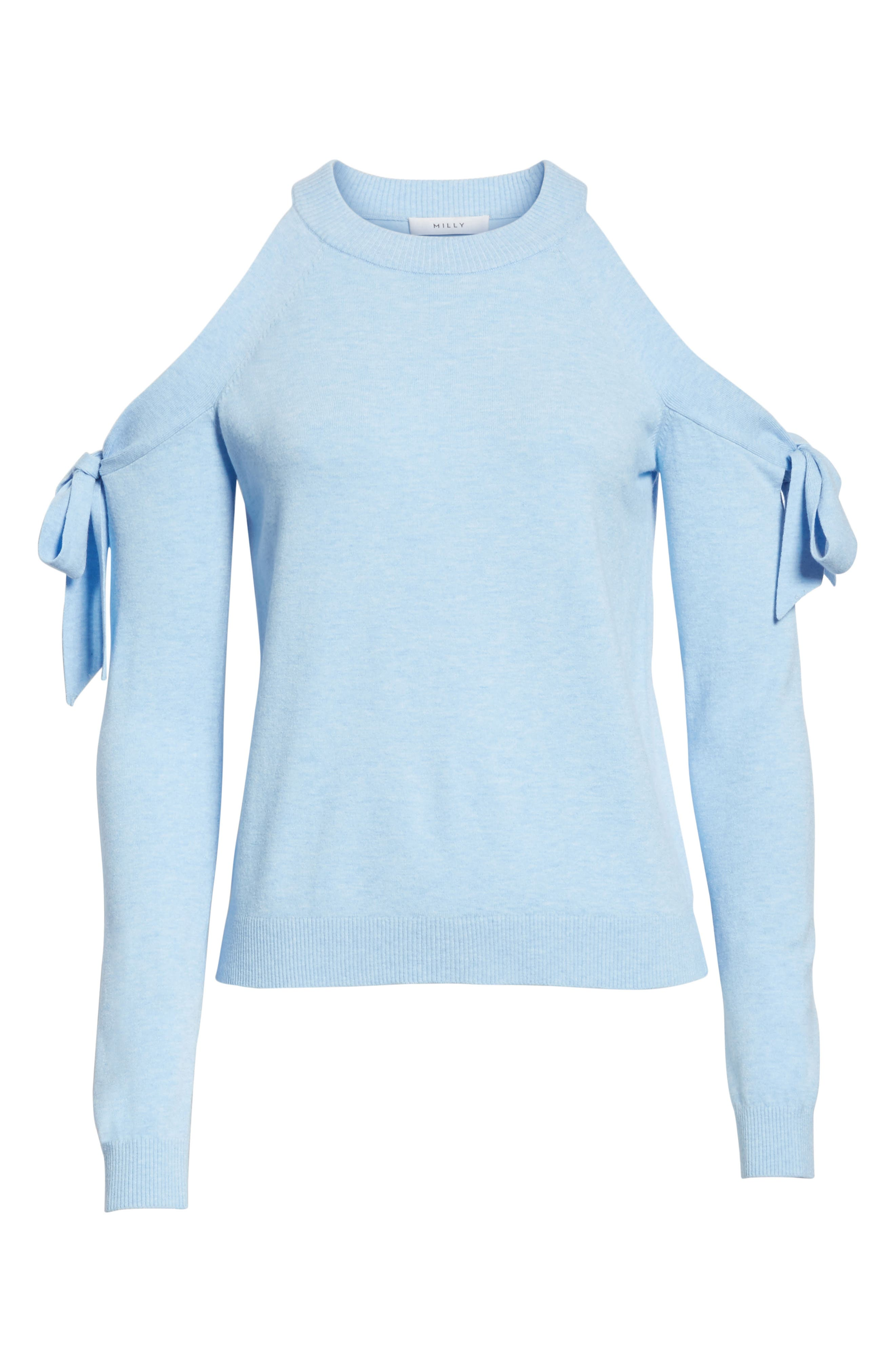 Cold Shoulder Tie Sleeve Sweater,                             Alternate thumbnail 6, color,                             Chambray