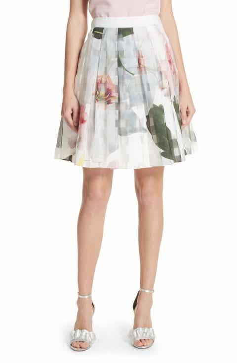 Ted Baker London Burnout Chatsworth Pleated Skirt