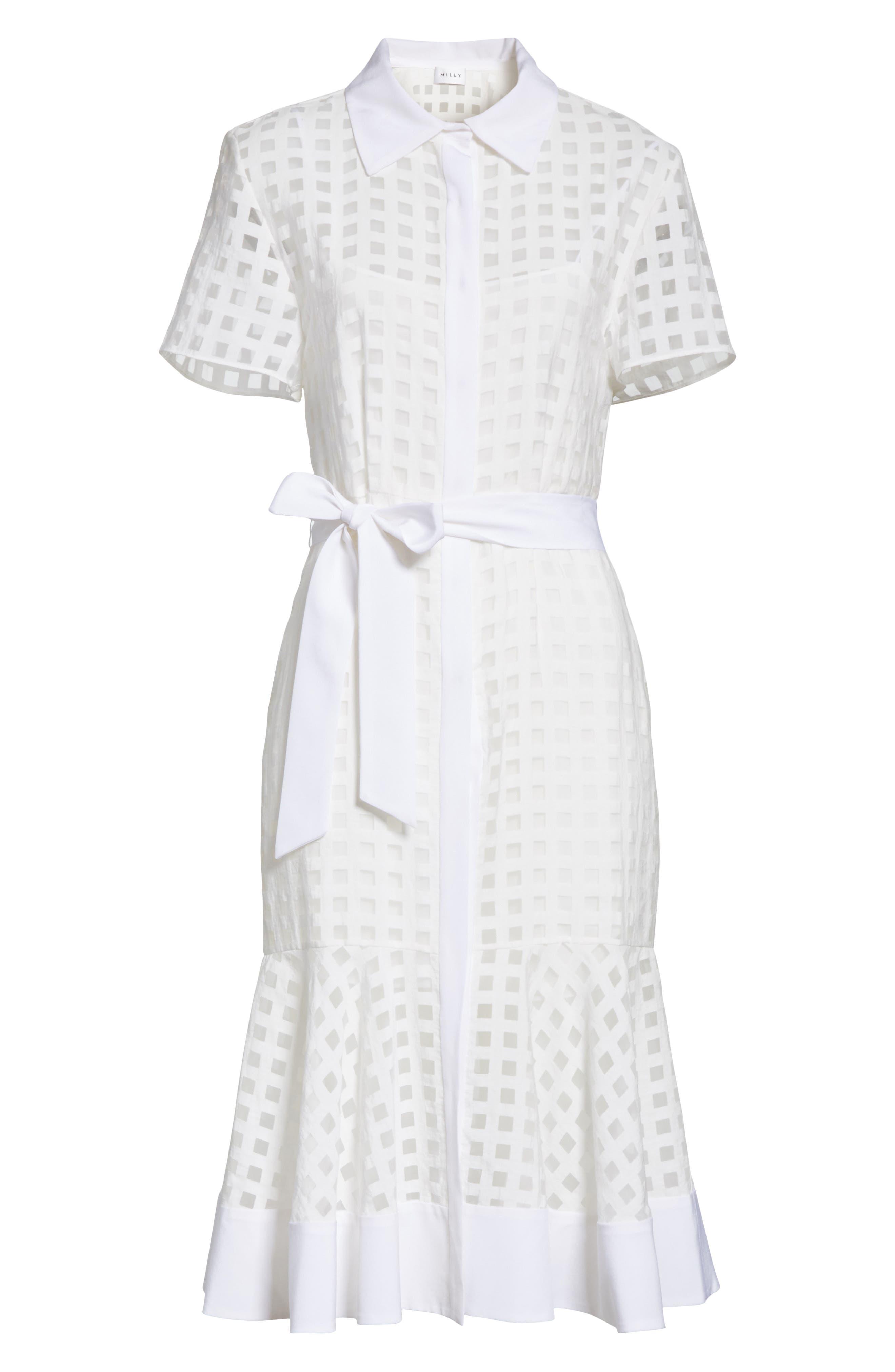 Haley Window Check Shirtdress,                             Alternate thumbnail 6, color,                             White