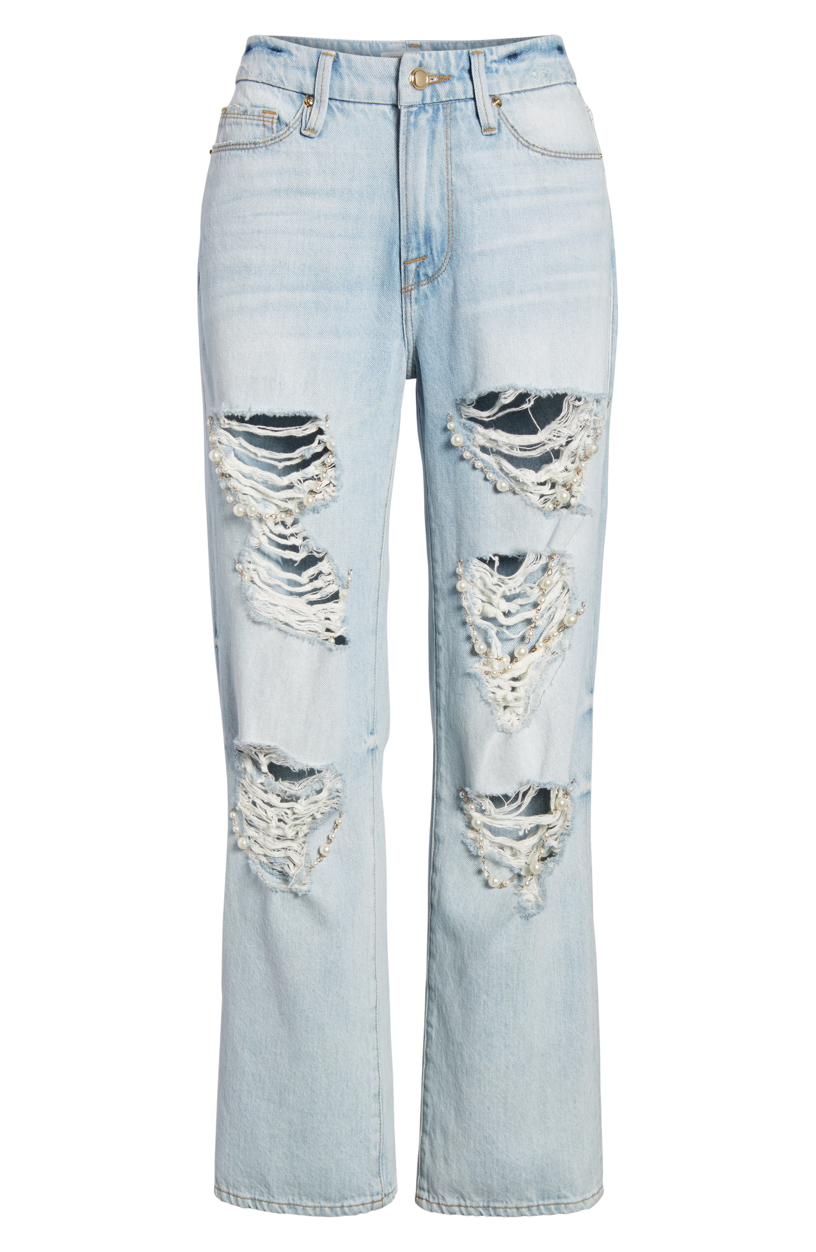 Good Straight Pearls High Waist Jeans,                             Alternate thumbnail 7, color,                             Blue143