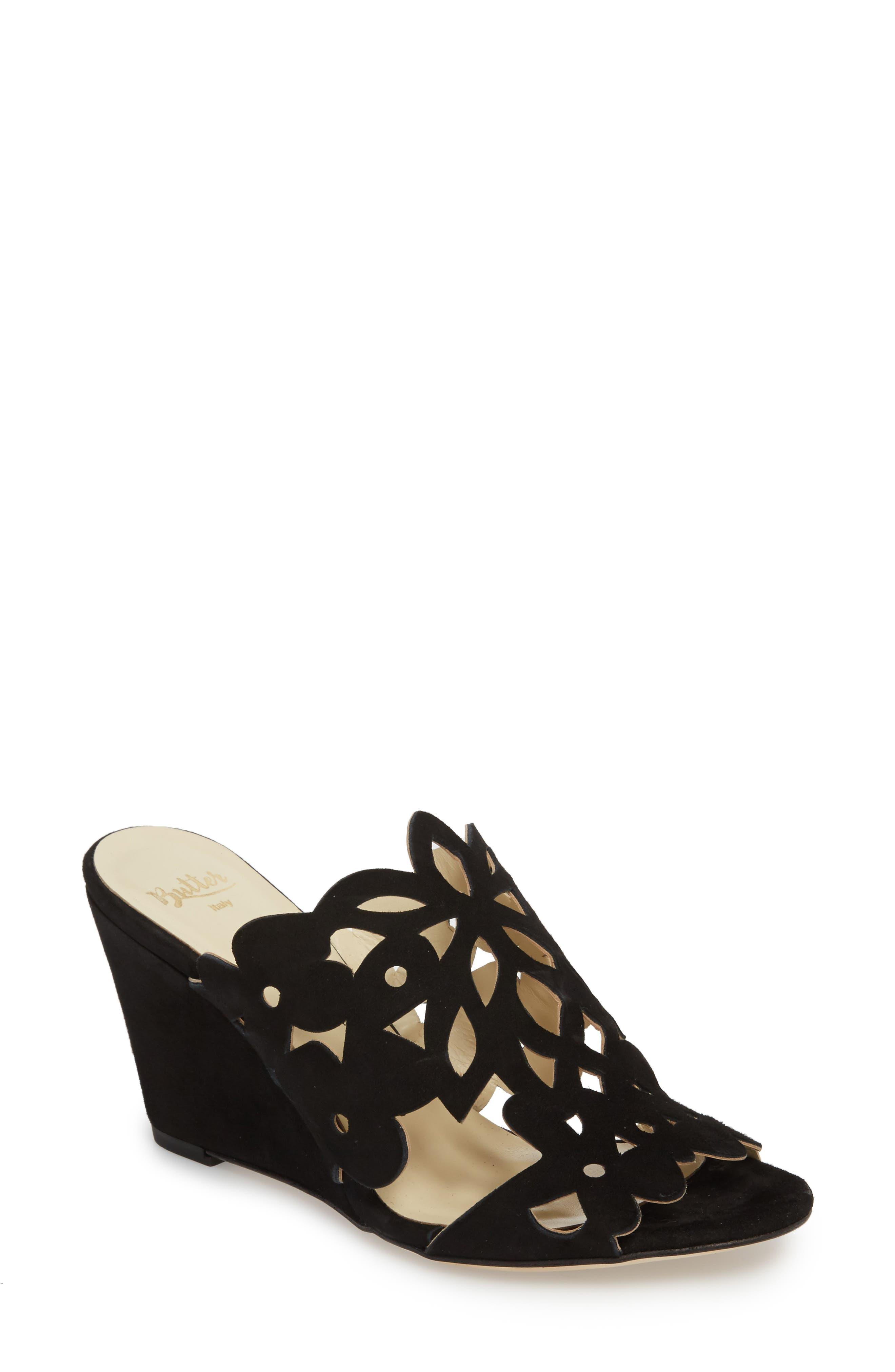 Butter Quinn Wedge Slide Sandal,                         Main,                         color, Blk Suede