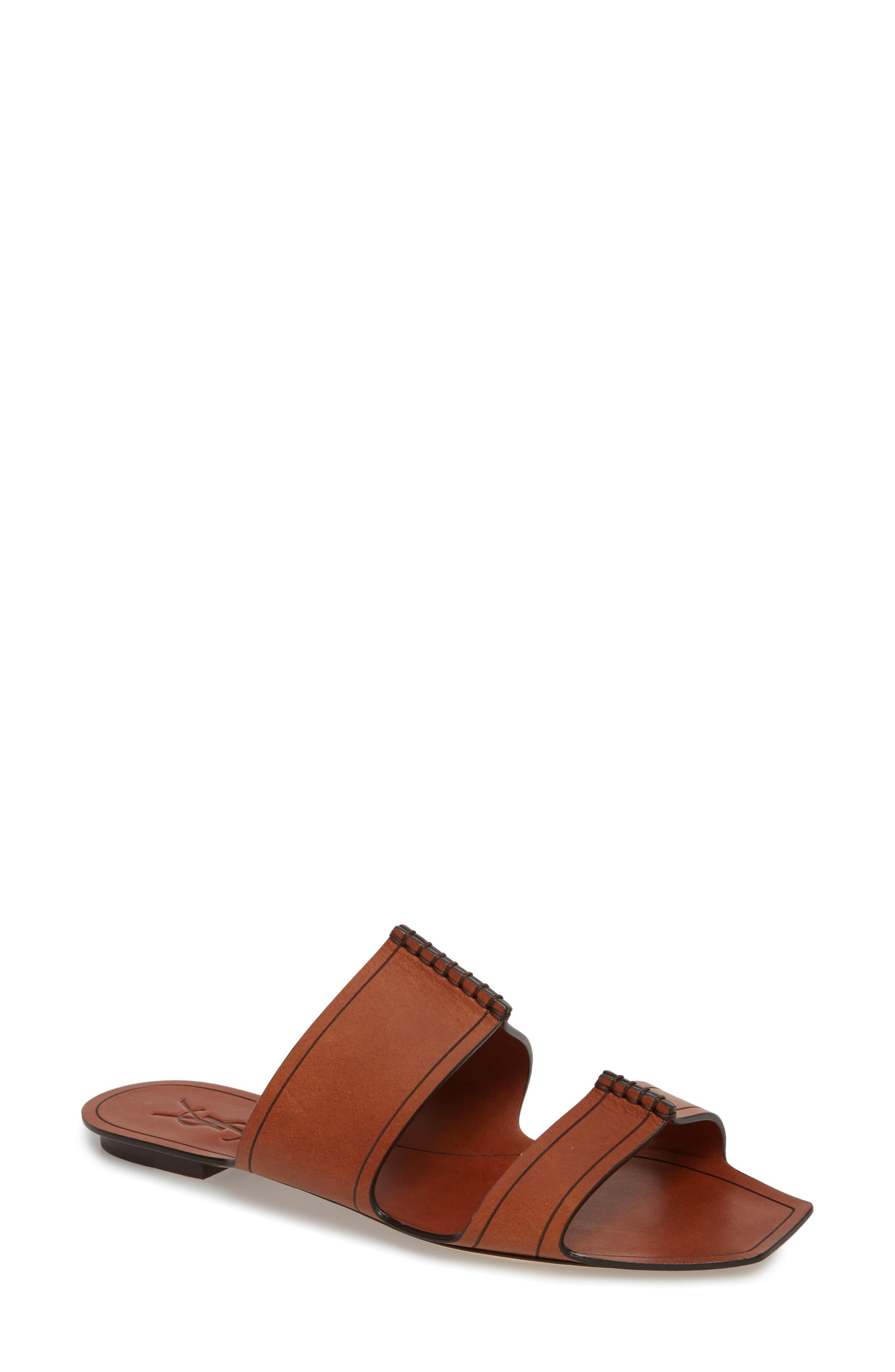 Double Band Slide Sandal,                         Main,                         color, Caramel