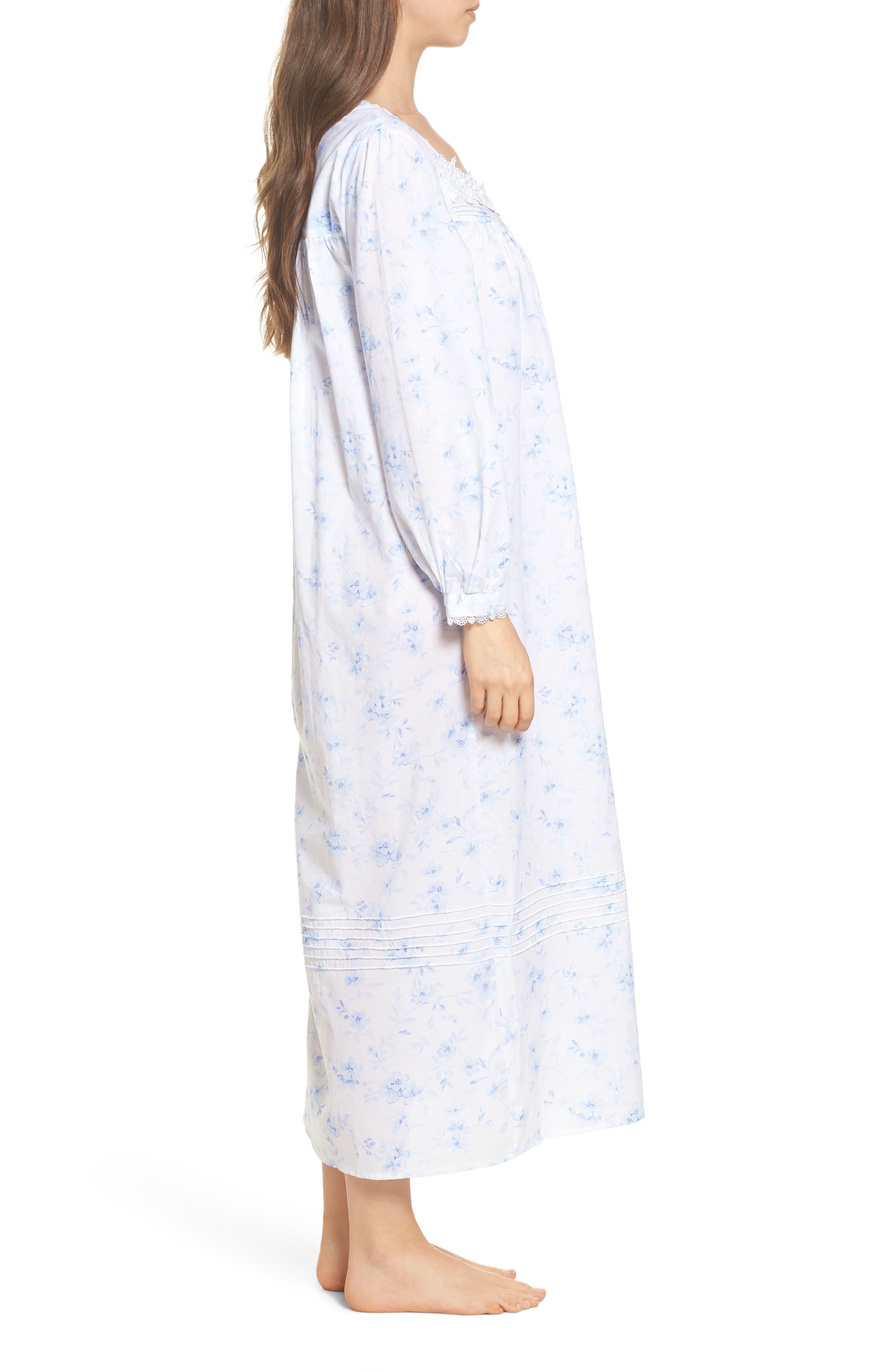 Cotton Lawn Ballet Nightgown,                             Alternate thumbnail 3, color,                             White Mono Floral