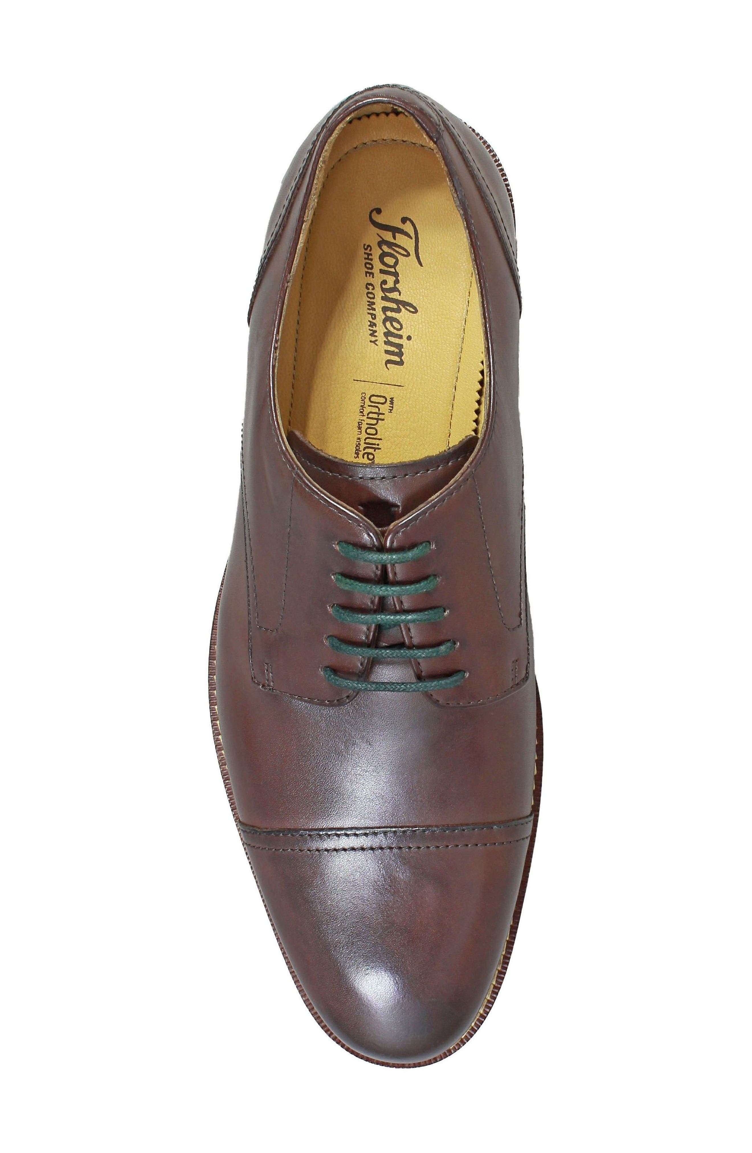 Salerno Cap Toe Derby,                             Alternate thumbnail 5, color,                             Brown Leather