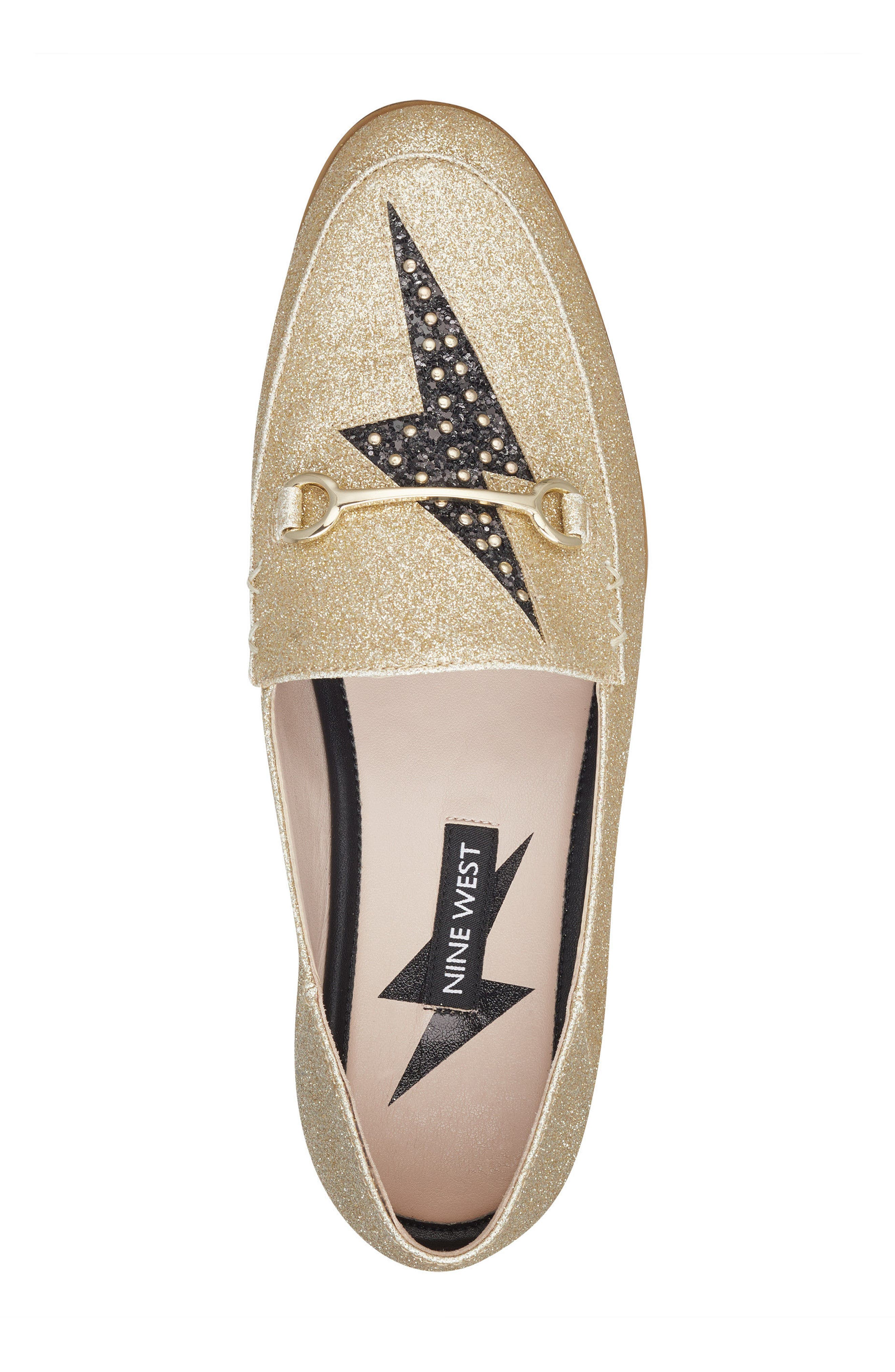 Wildgirls Embellished Loafer,                             Alternate thumbnail 5, color,                             Light Gold/ Black Fabric