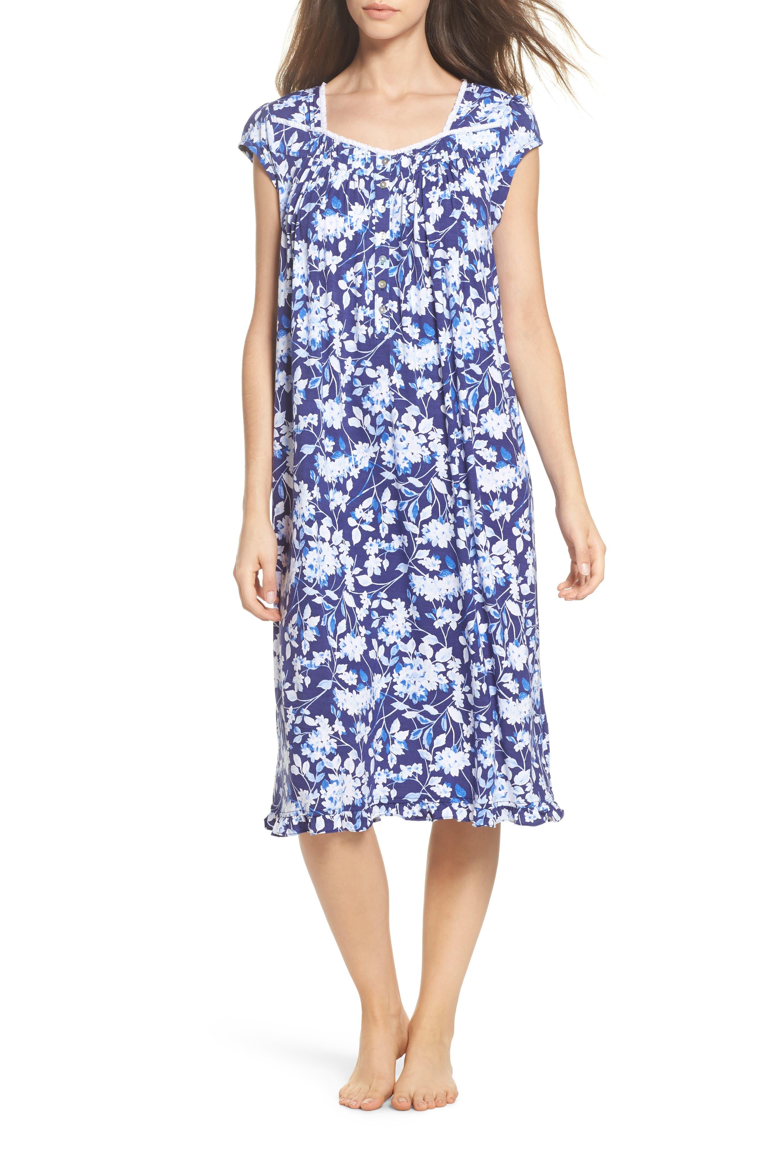 Waltz Nightgown,                             Main thumbnail 1, color,                             Blue Multi Floral