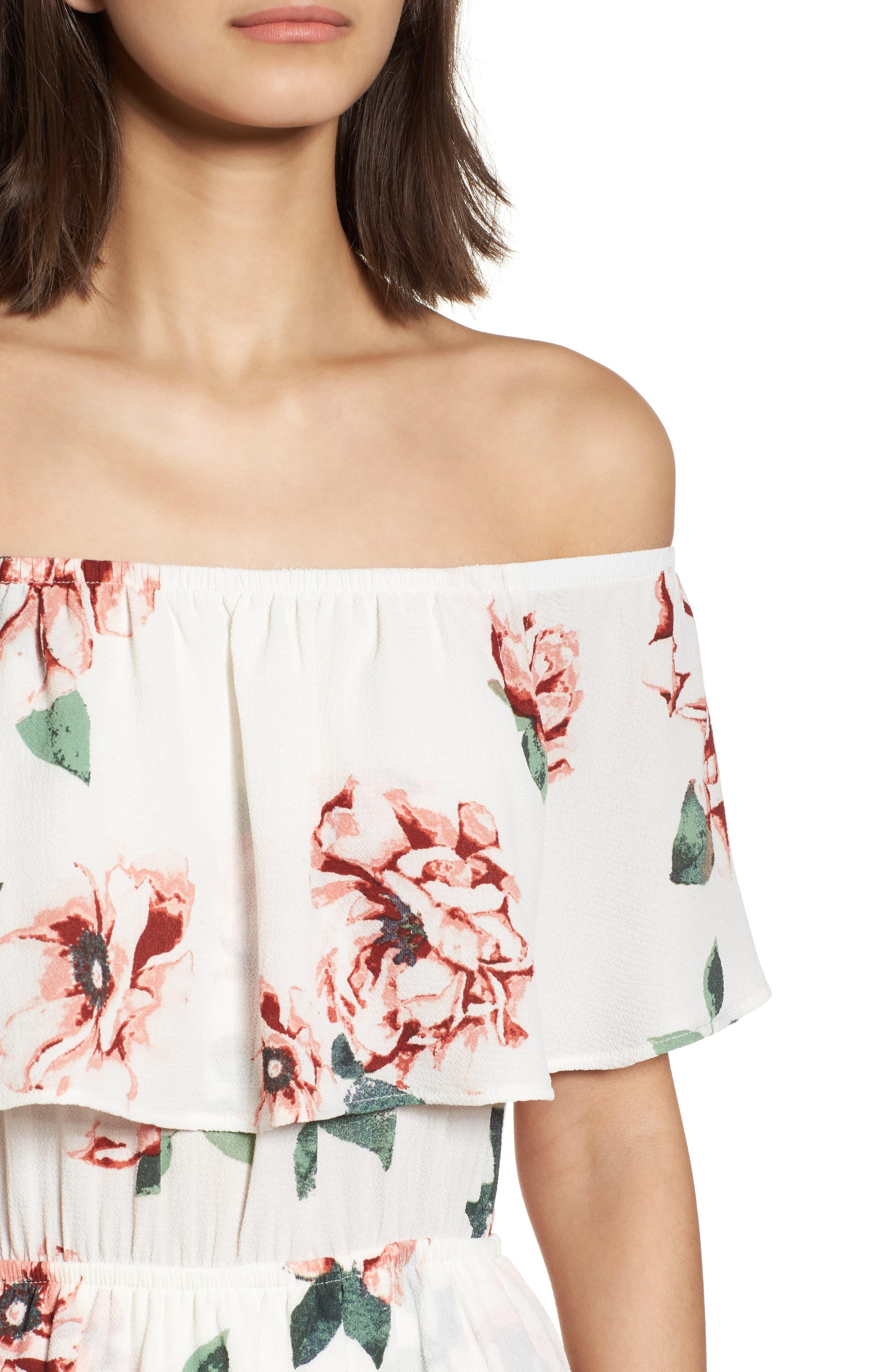 Off the Shoulder Maxi Dress,                             Alternate thumbnail 4, color,                             Ivory Floral