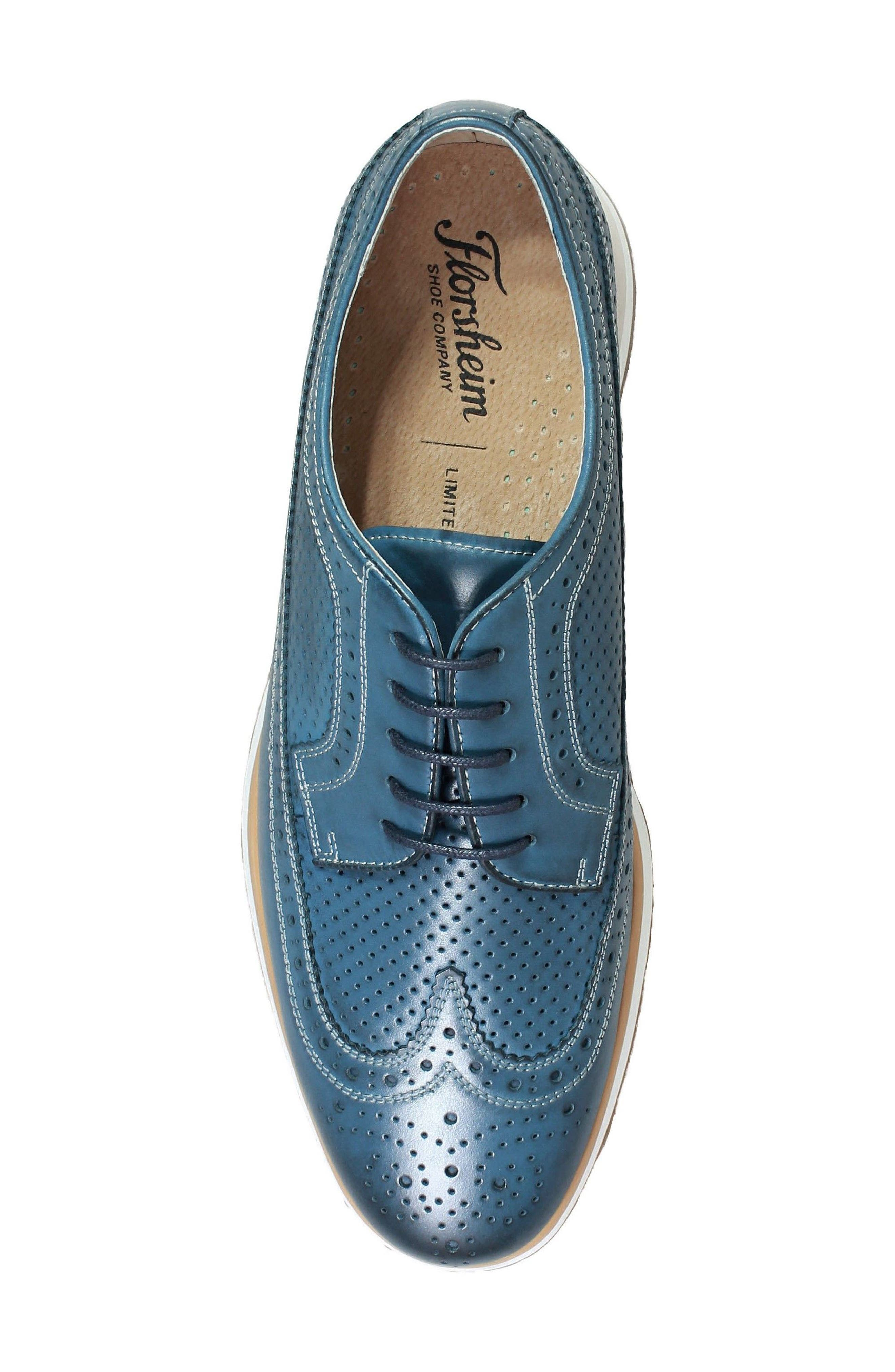 Limited Flux Perforated Wingtip Derby,                             Alternate thumbnail 5, color,                             Indigo Leather