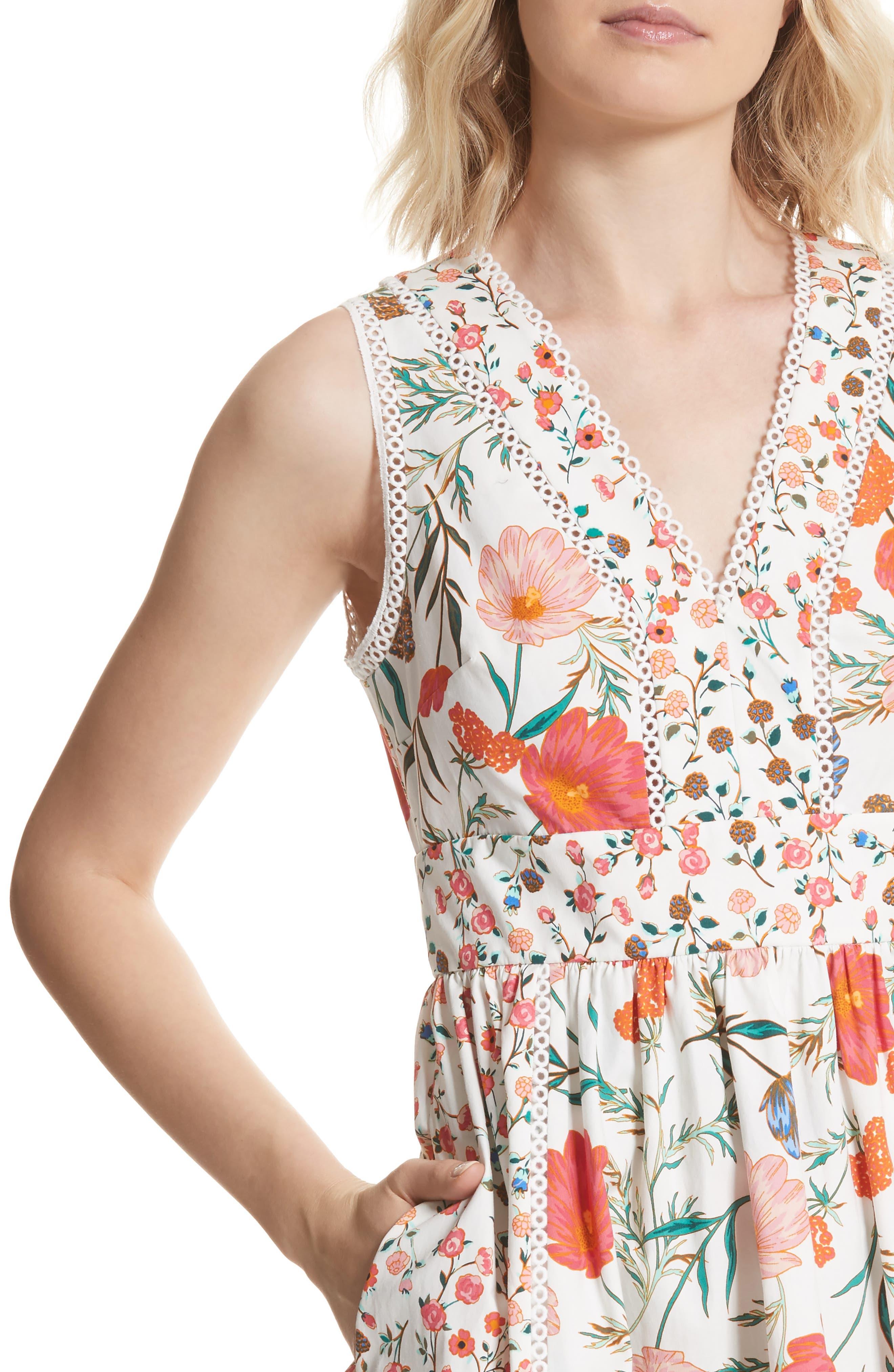 blossom sleeveless fit & flare dress,                             Alternate thumbnail 4, color,                             Cream