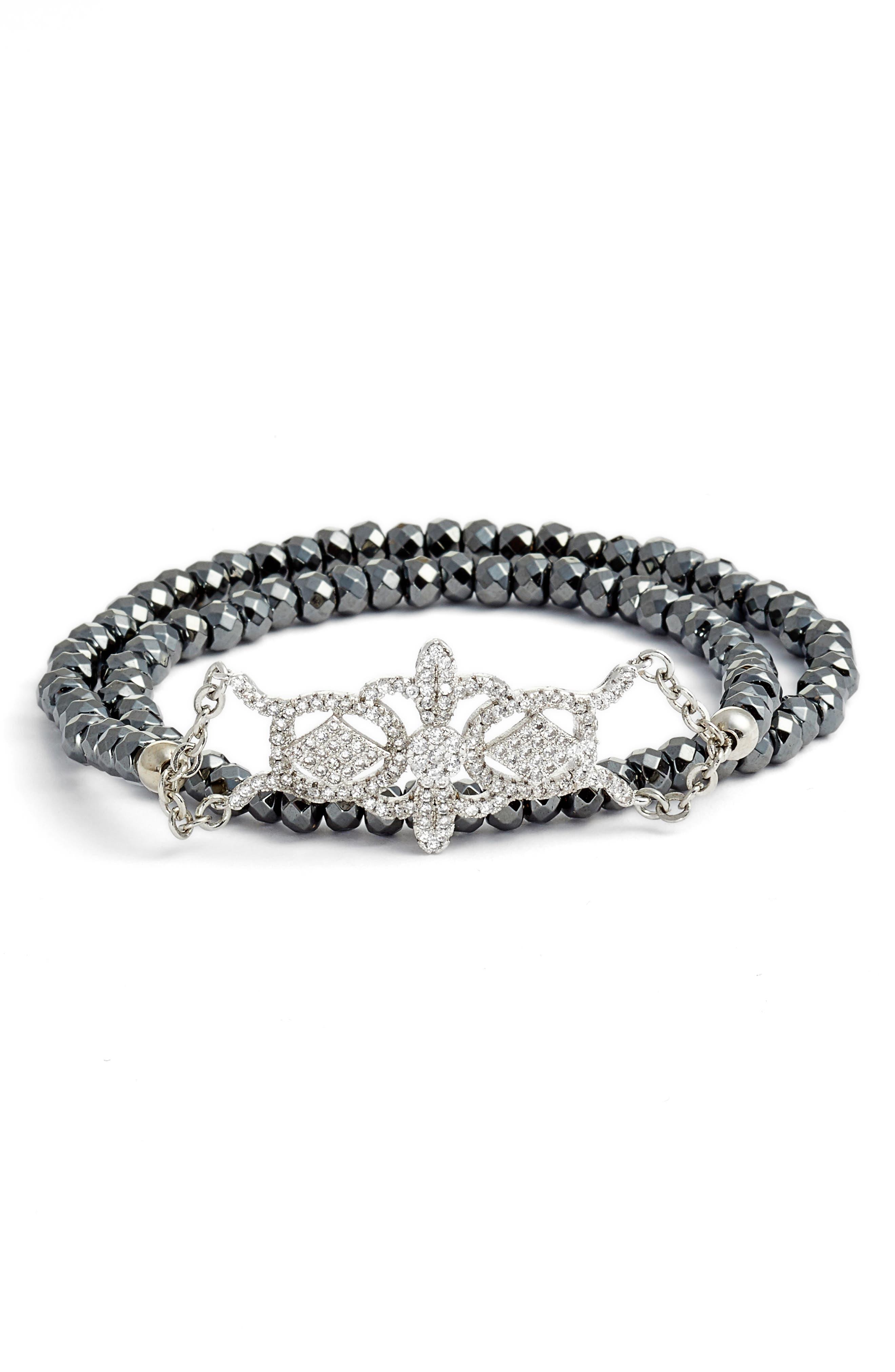 Elise M. Gatsby Double Wrap Stretch Bracelet with Pavé Art Deco Detail