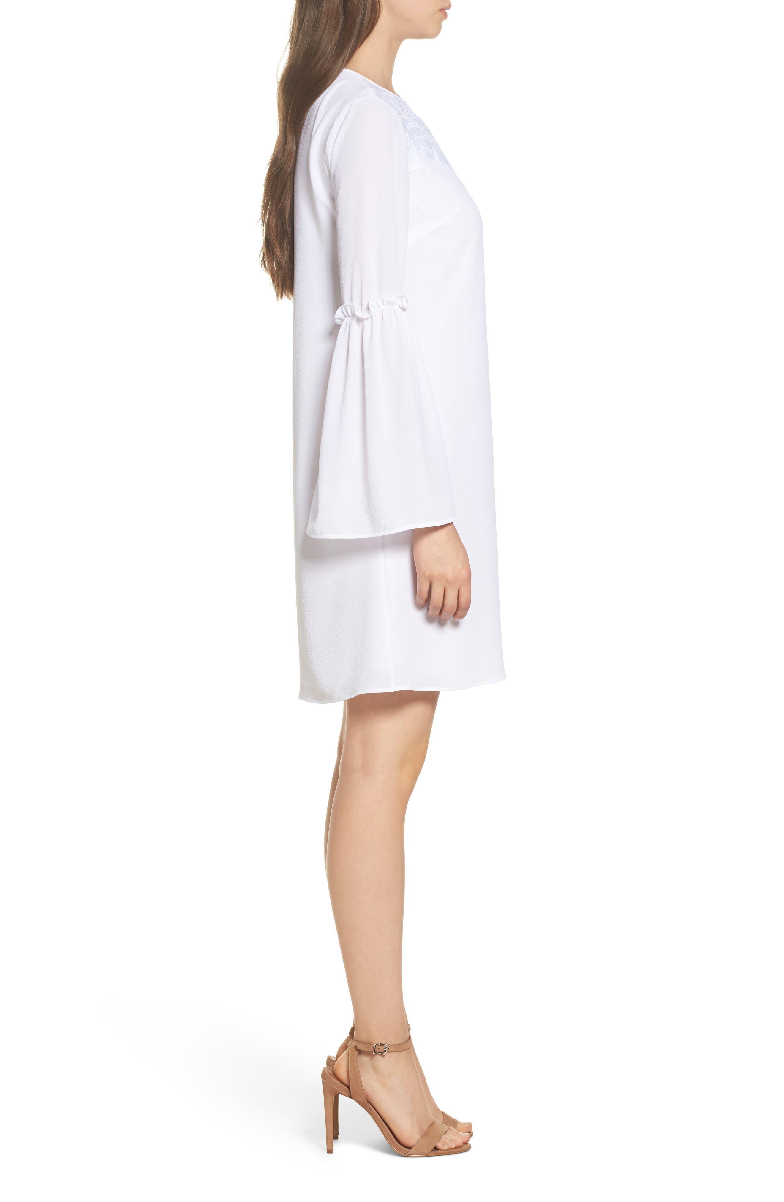 Lace Appliqué Bell Sleeve Dress,                             Alternate thumbnail 3, color,                             White