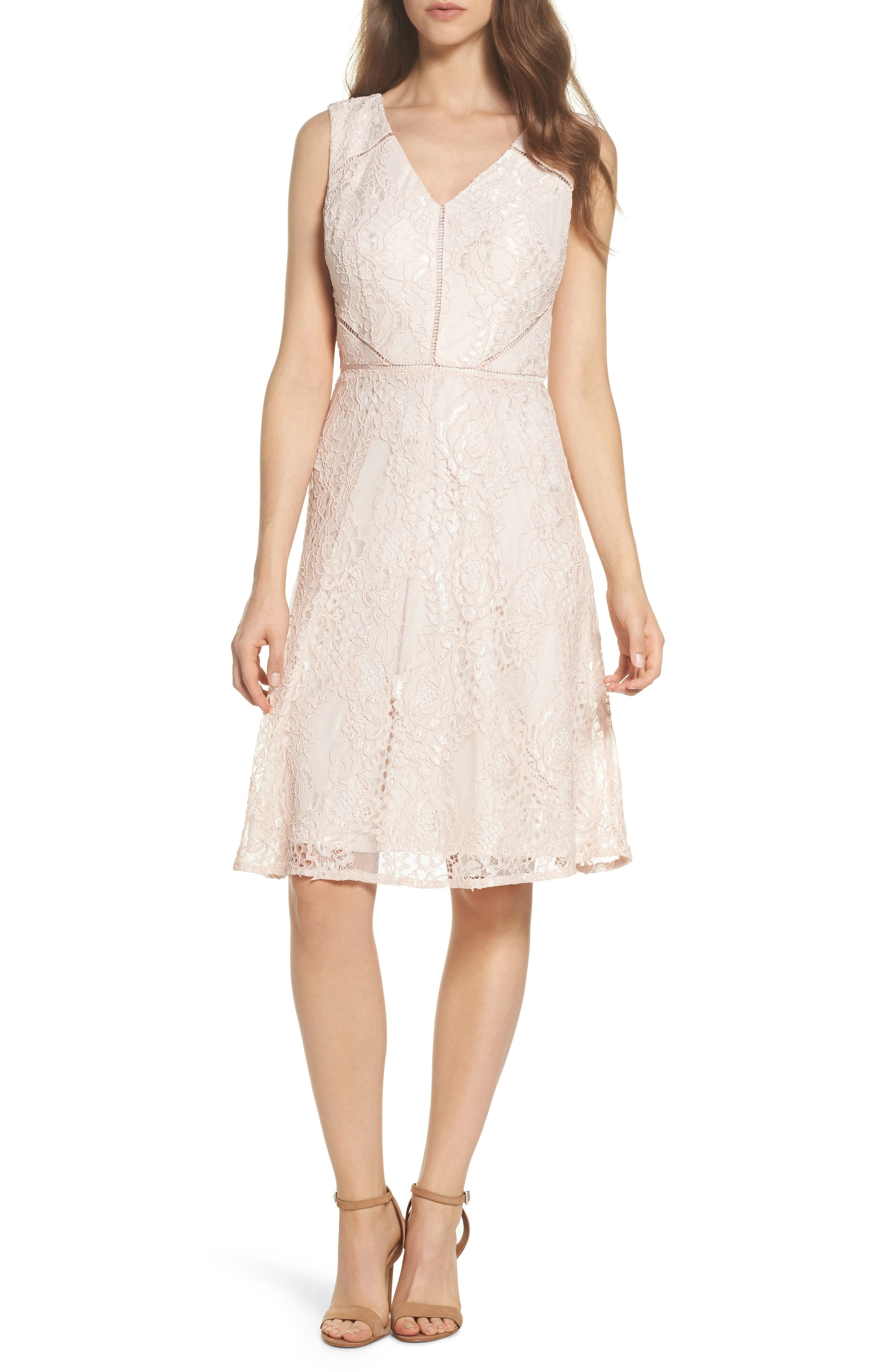 Rose Lace Fit & Flare Dress,                             Main thumbnail 1, color,                             Blush/ Almond