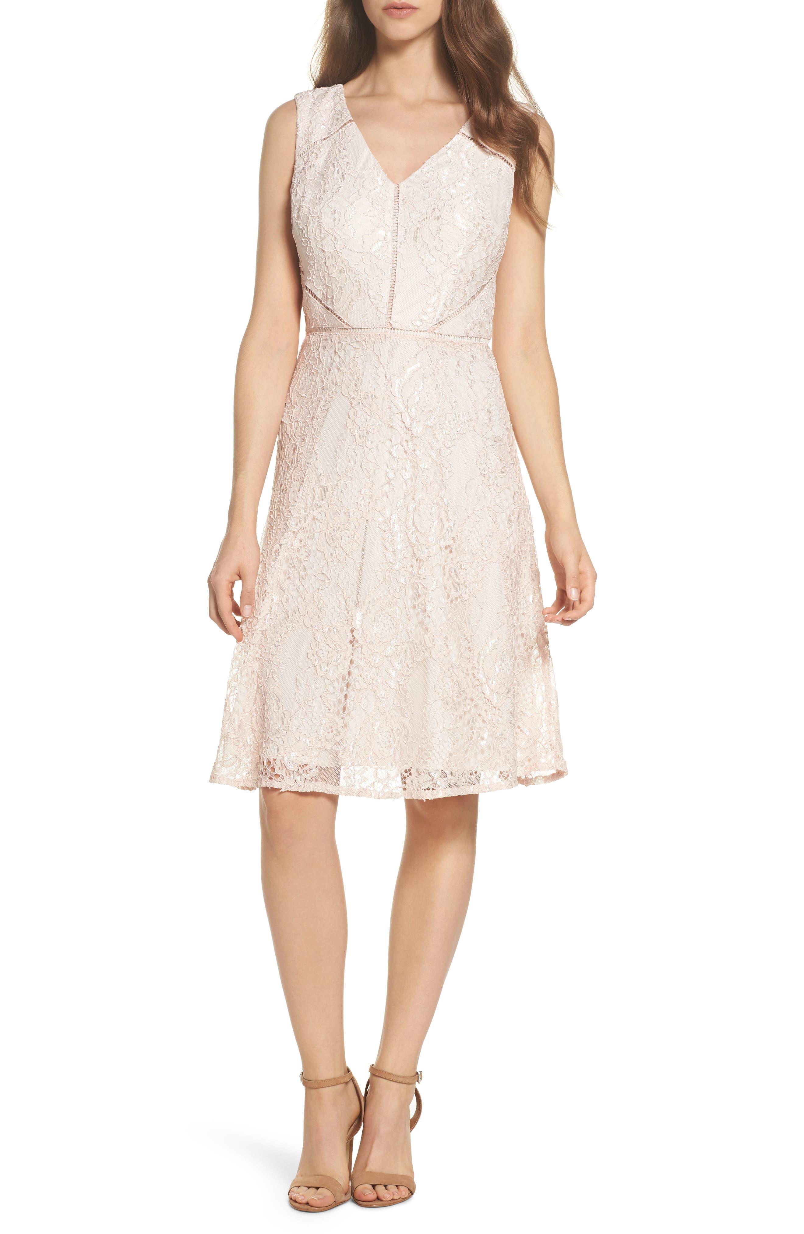 Rose Lace Fit & Flare Dress,                         Main,                         color, Blush/ Almond