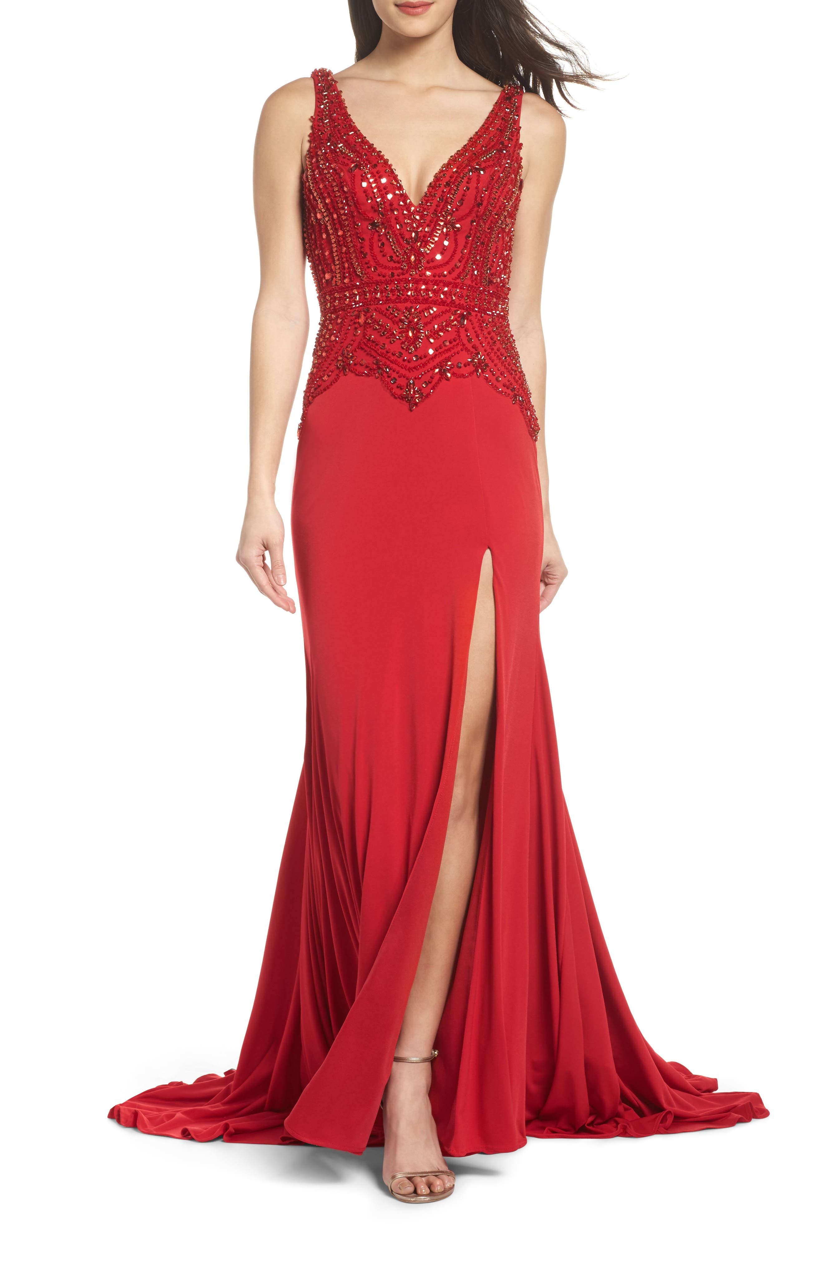 Beaded Bodice Sheath Gown,                         Main,                         color, Red