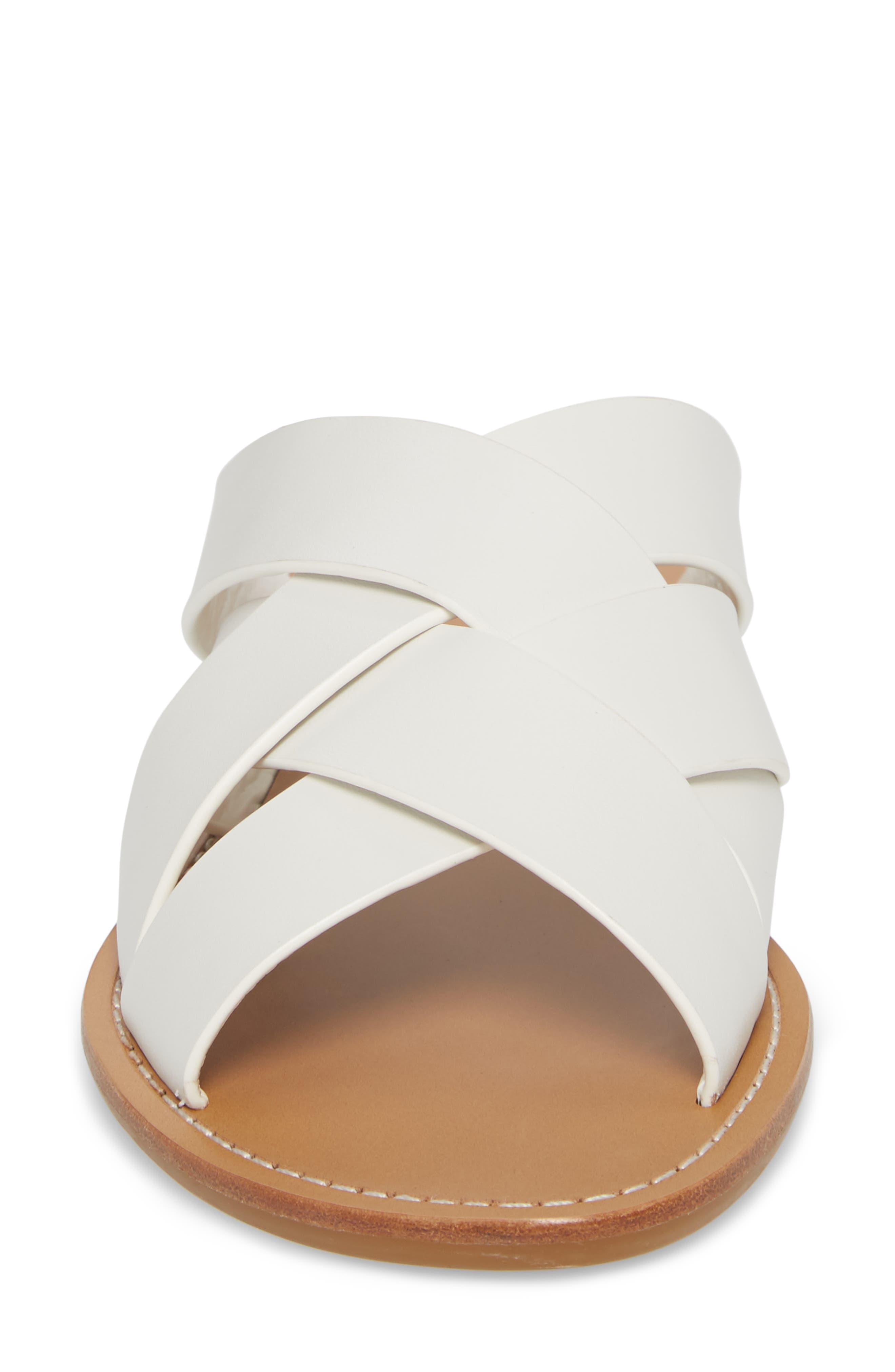 Raida Slide Sandal,                             Alternate thumbnail 4, color,                             White Leather