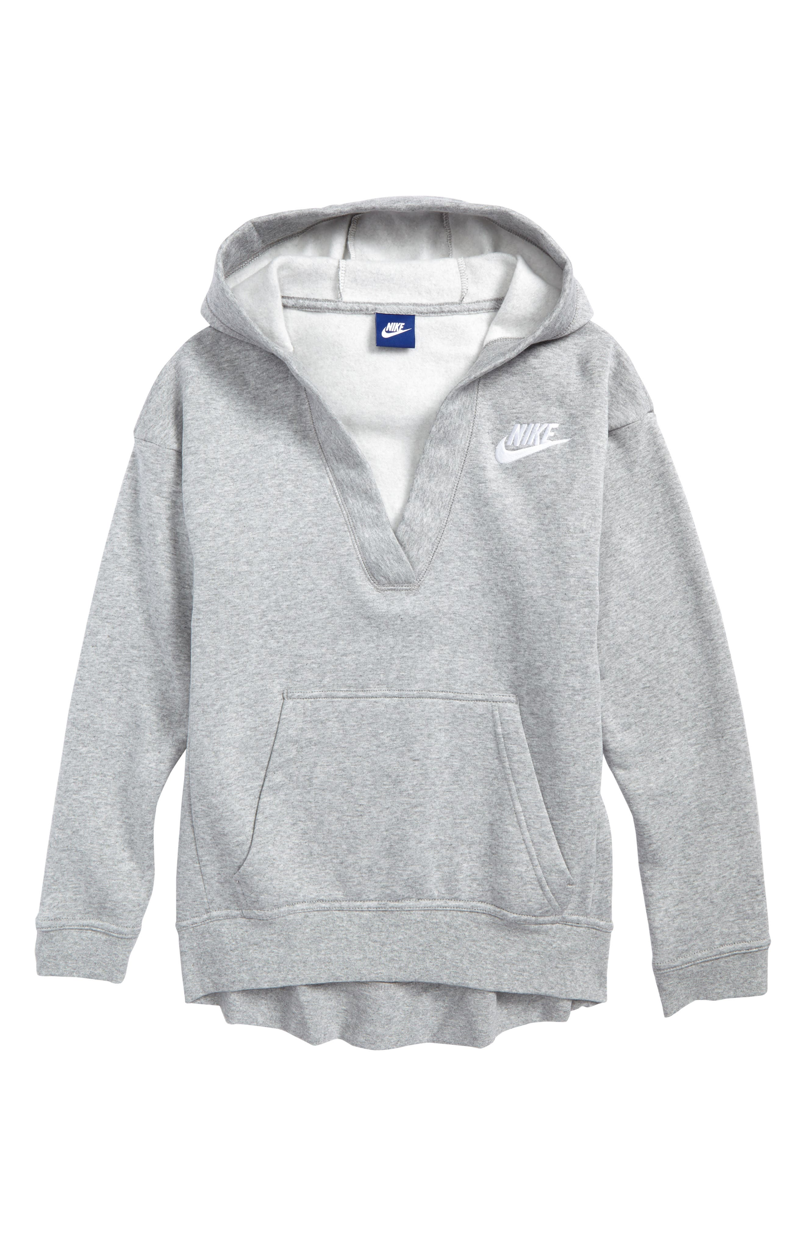 V-Neck Pullover Hoodie,                         Main,                         color, Dark Grey Heather/ White