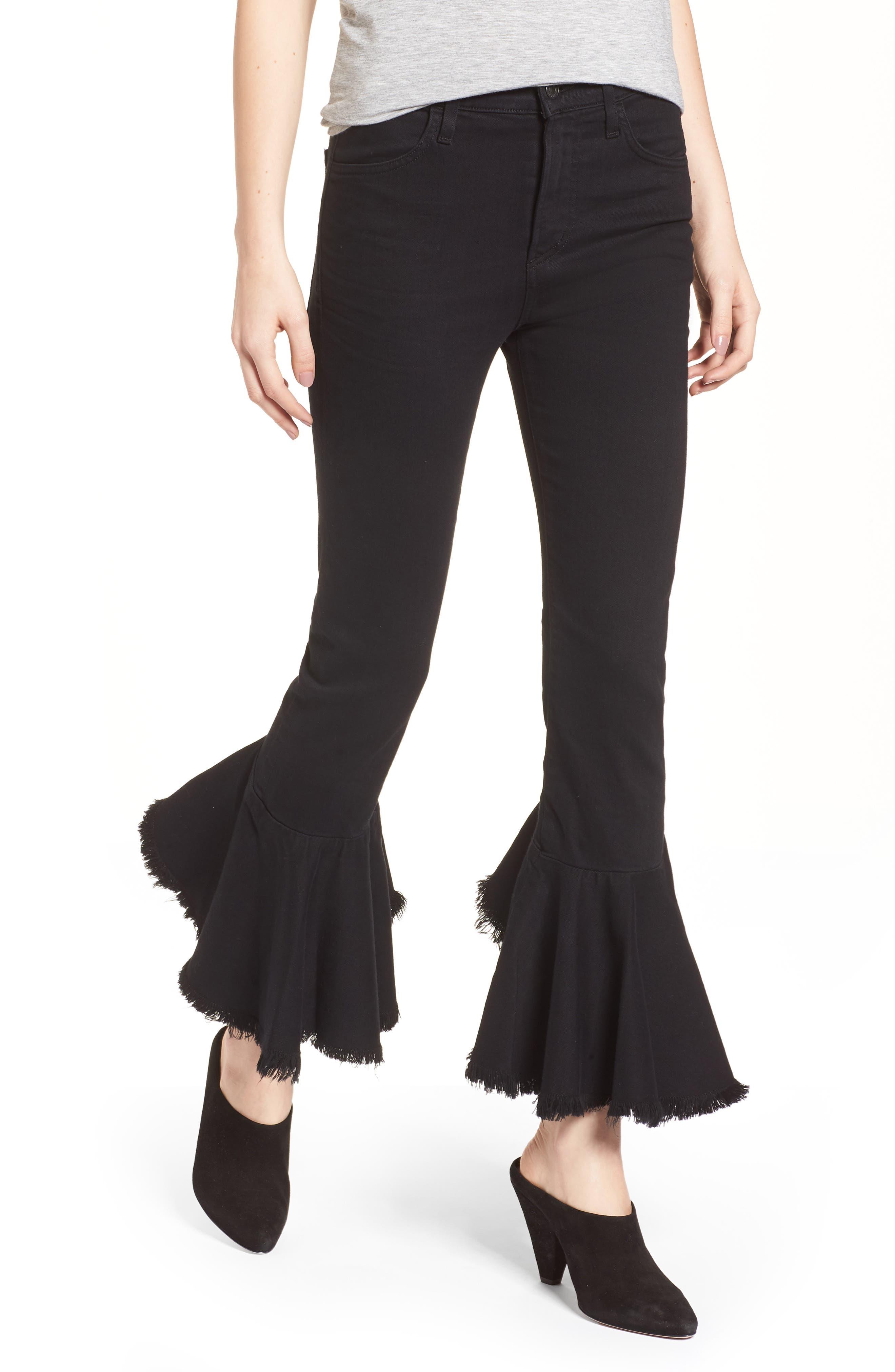 Drew Flounce Hem Crop Jeans,                             Main thumbnail 1, color,                             Soiree Black