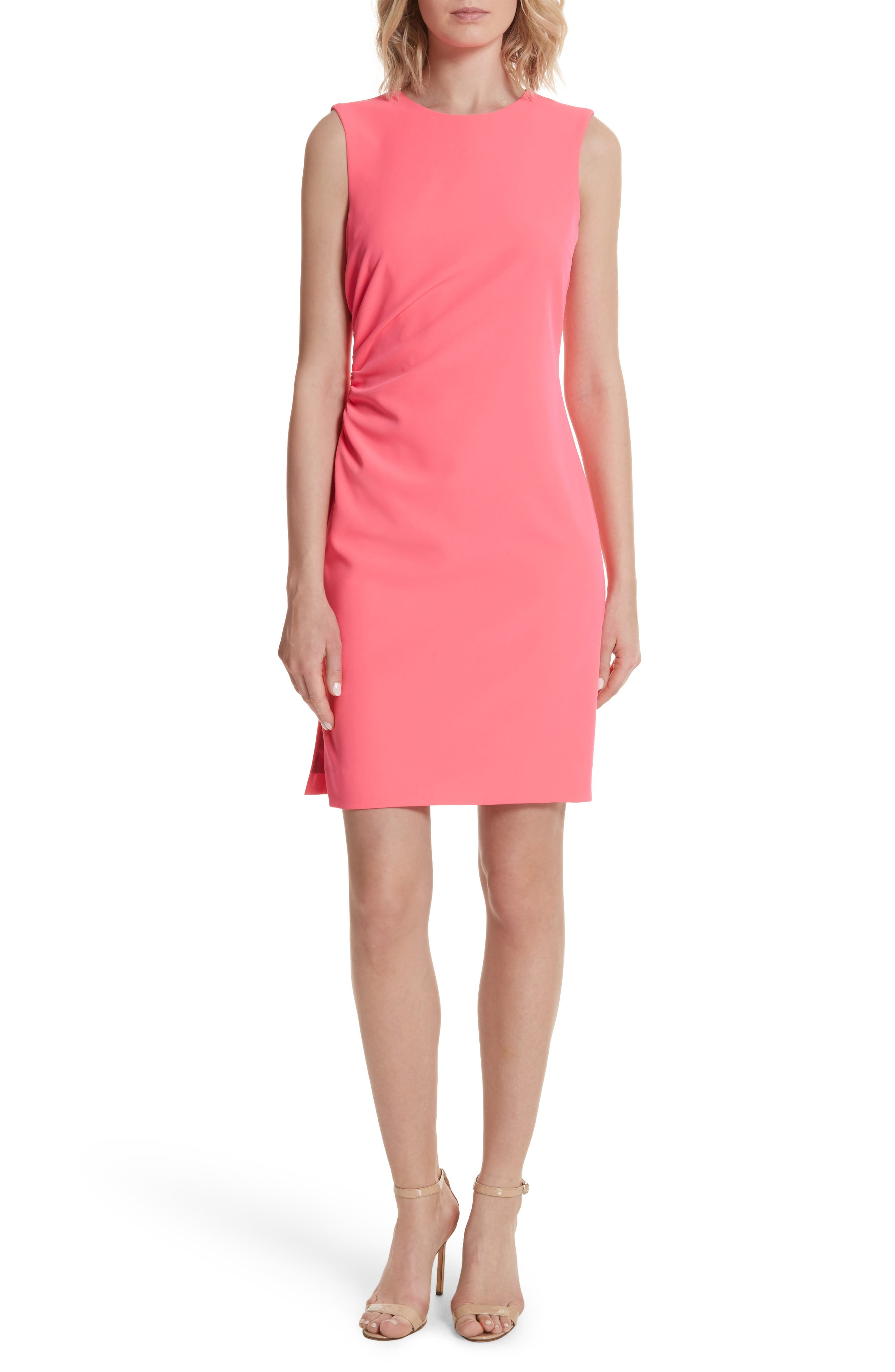 Sherry Ruched Sheath Dress,                         Main,                         color, Fluorescent Pink