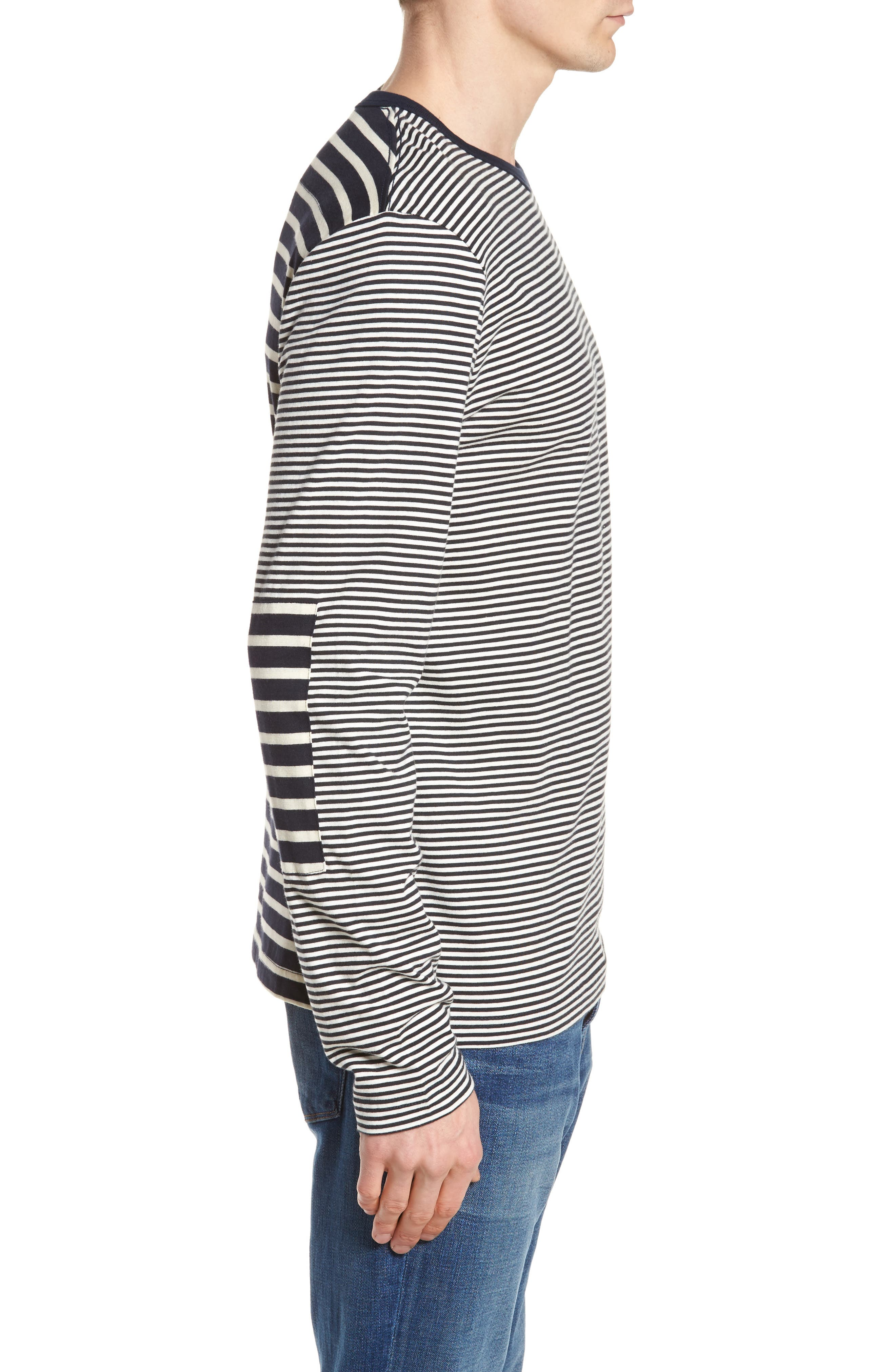 Mix Stripe Long Sleeve T-Shirt,                             Alternate thumbnail 4, color,                             Turtle Dove/ Marine Blue