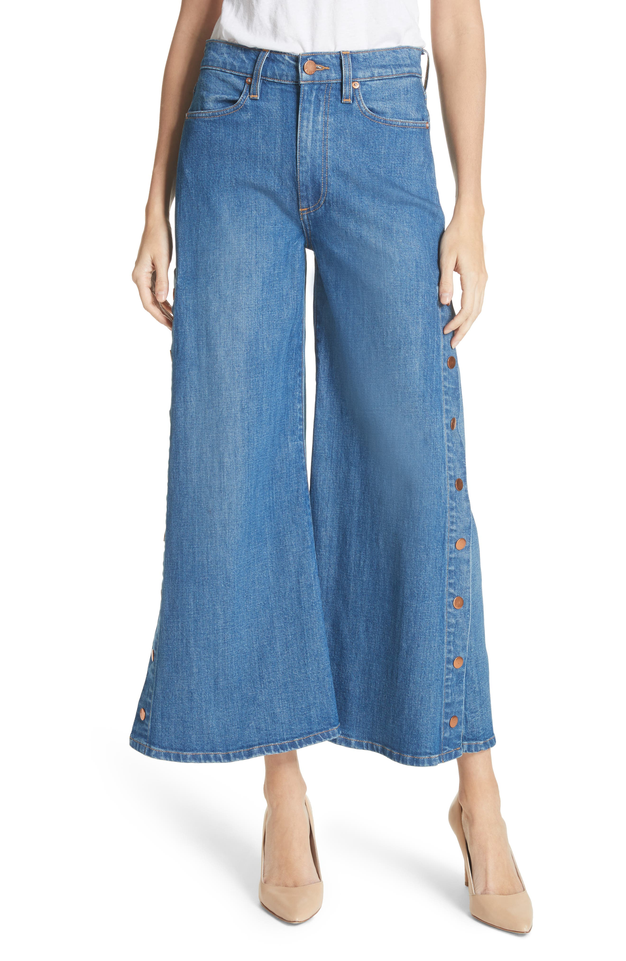 AO.LA Gorgeous Snap Side Crop Flare Jeans,                             Main thumbnail 1, color,                             French Blue