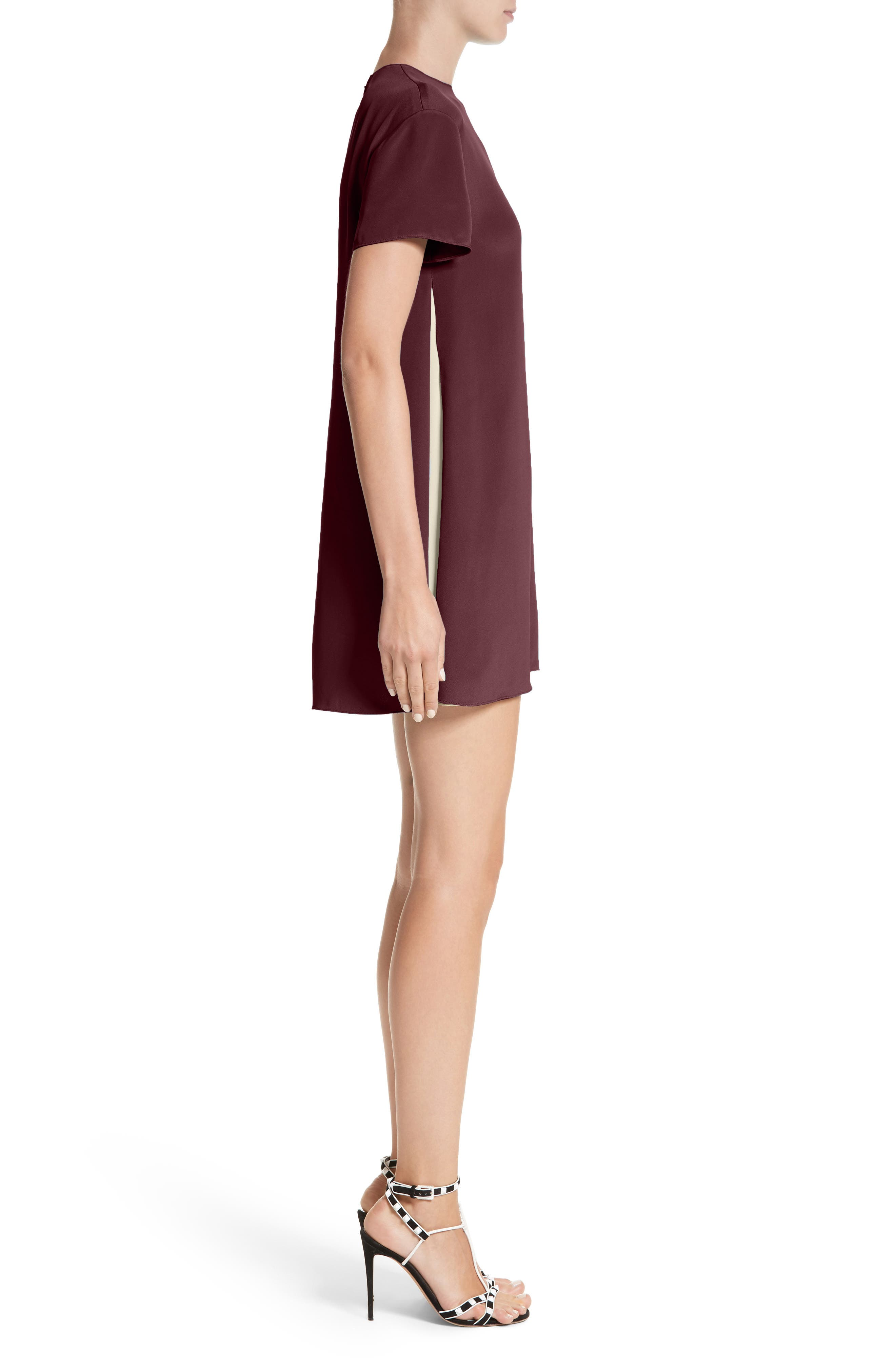 Silk Shift Dress,                             Alternate thumbnail 3, color,                             Burgundy / Ivory