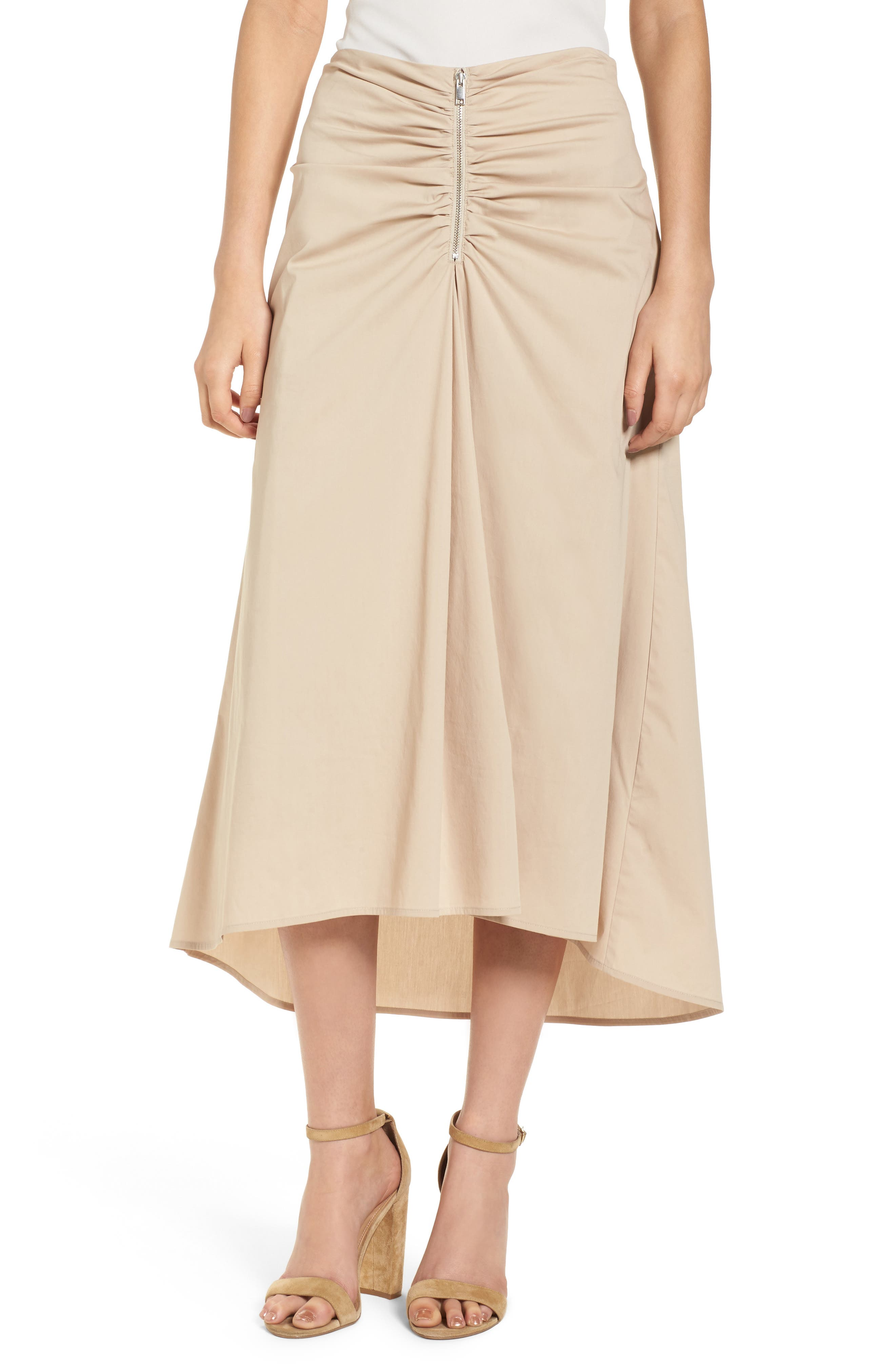 Ruched Front Midi Skirt,                             Main thumbnail 1, color,                             Tan Oxford