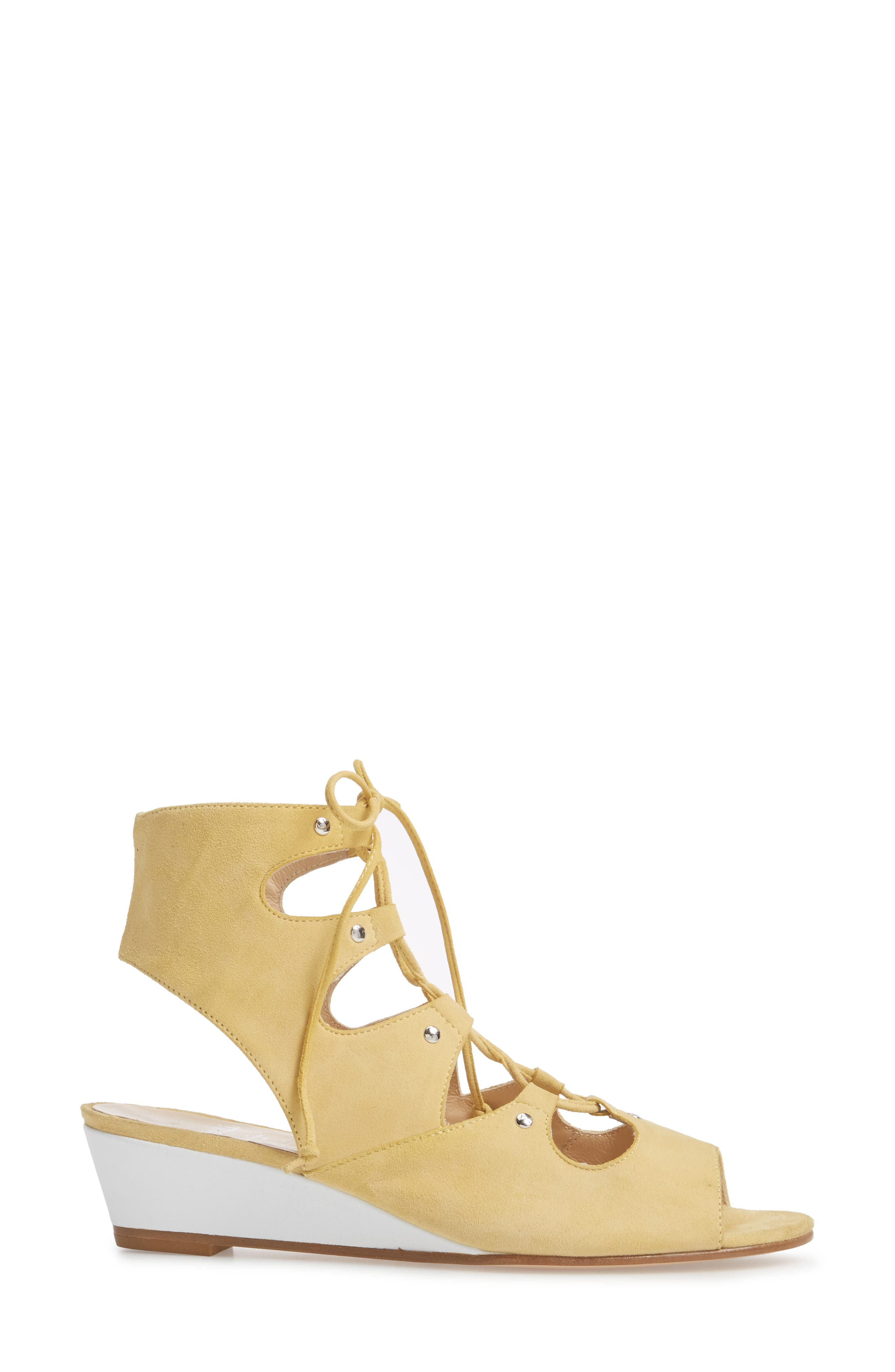 Morata Ghillie Cage Sandal,                             Alternate thumbnail 3, color,                             Mango/ Beige Suede