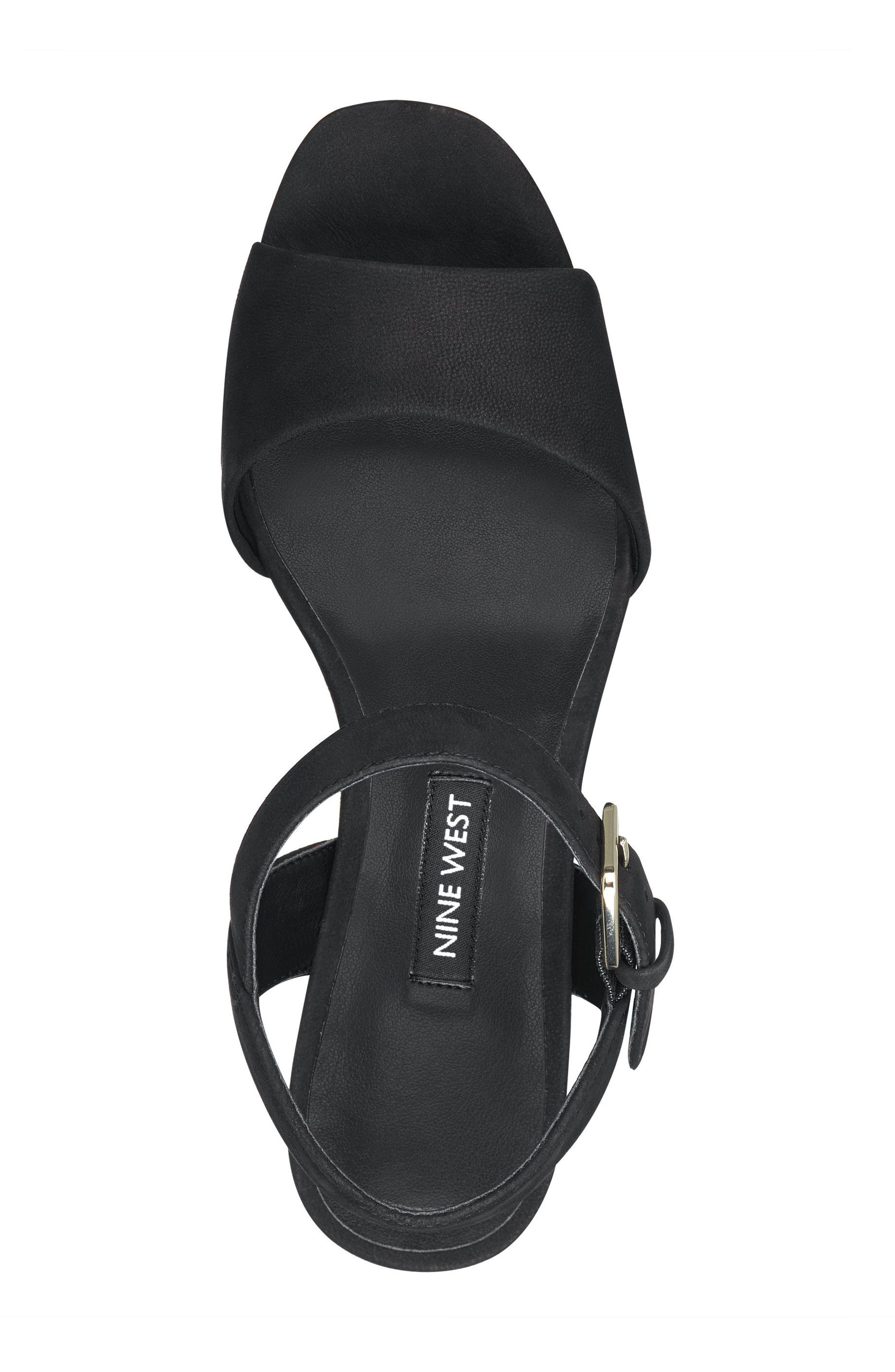 FallForU Platform Sandal,                             Alternate thumbnail 5, color,                             Black Leather