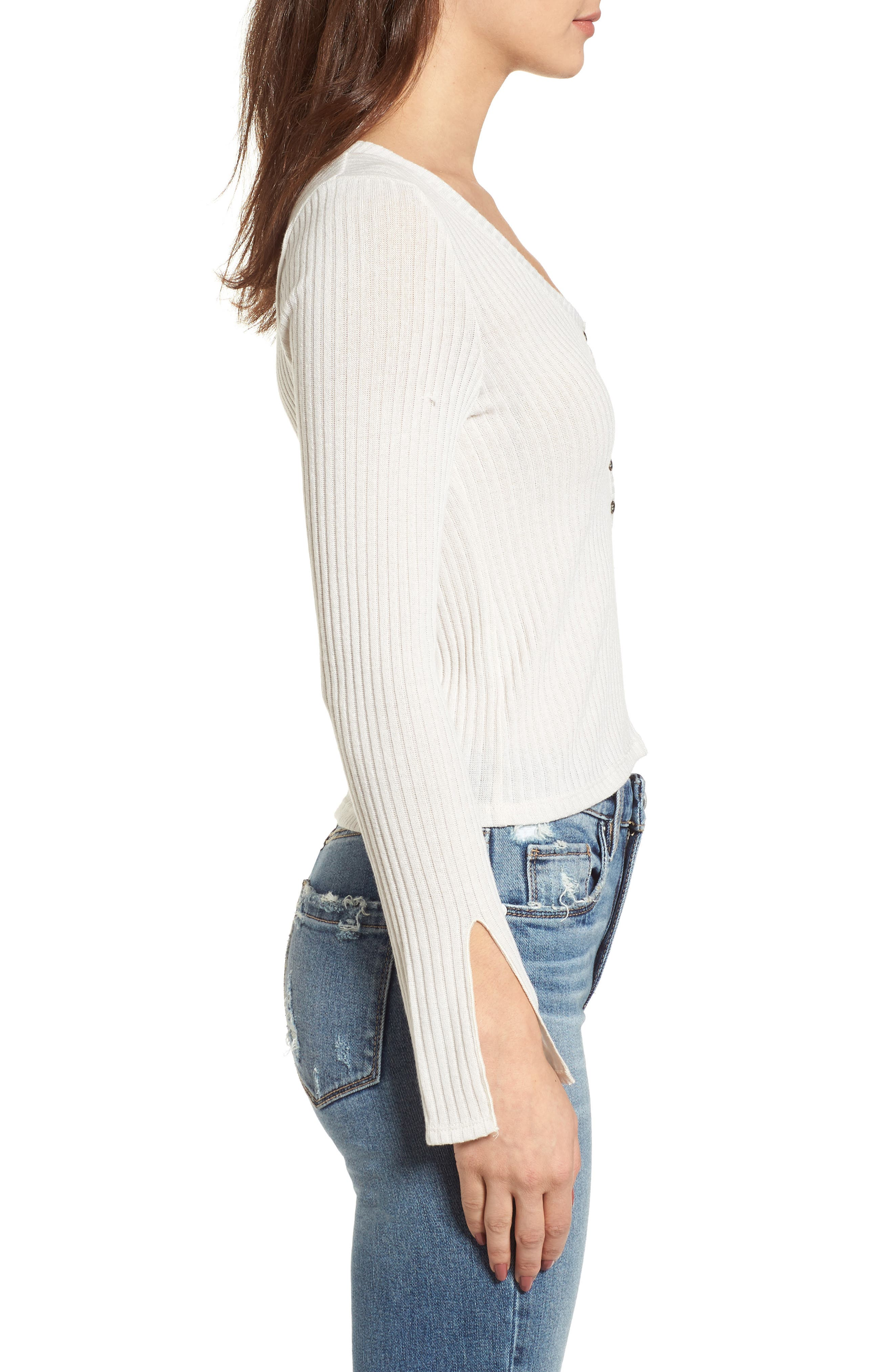 Rib Knit Henley,                             Alternate thumbnail 3, color,                             Taupe