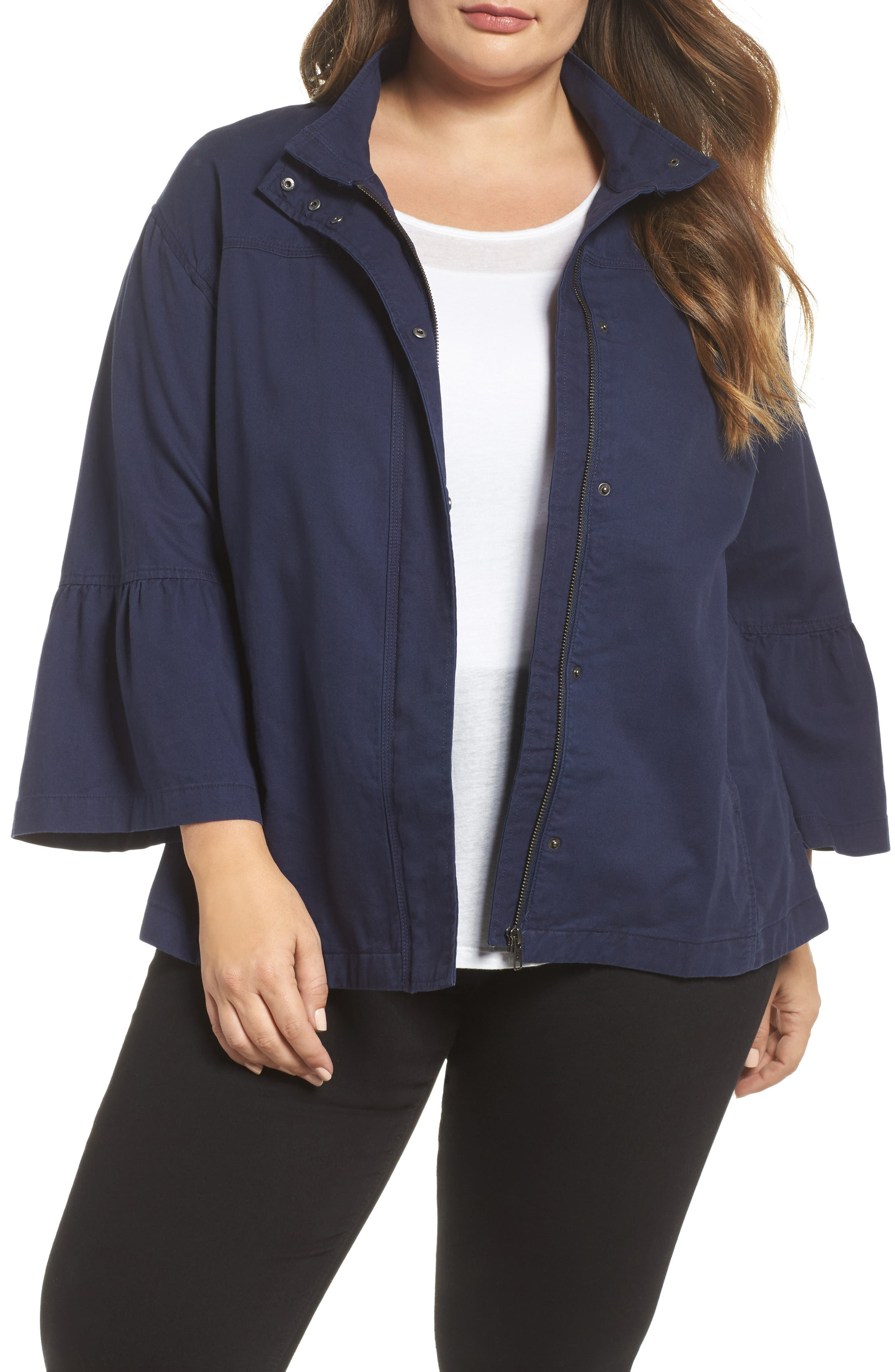 Bell Sleeve Utility Jacket,                         Main,                         color, Navy