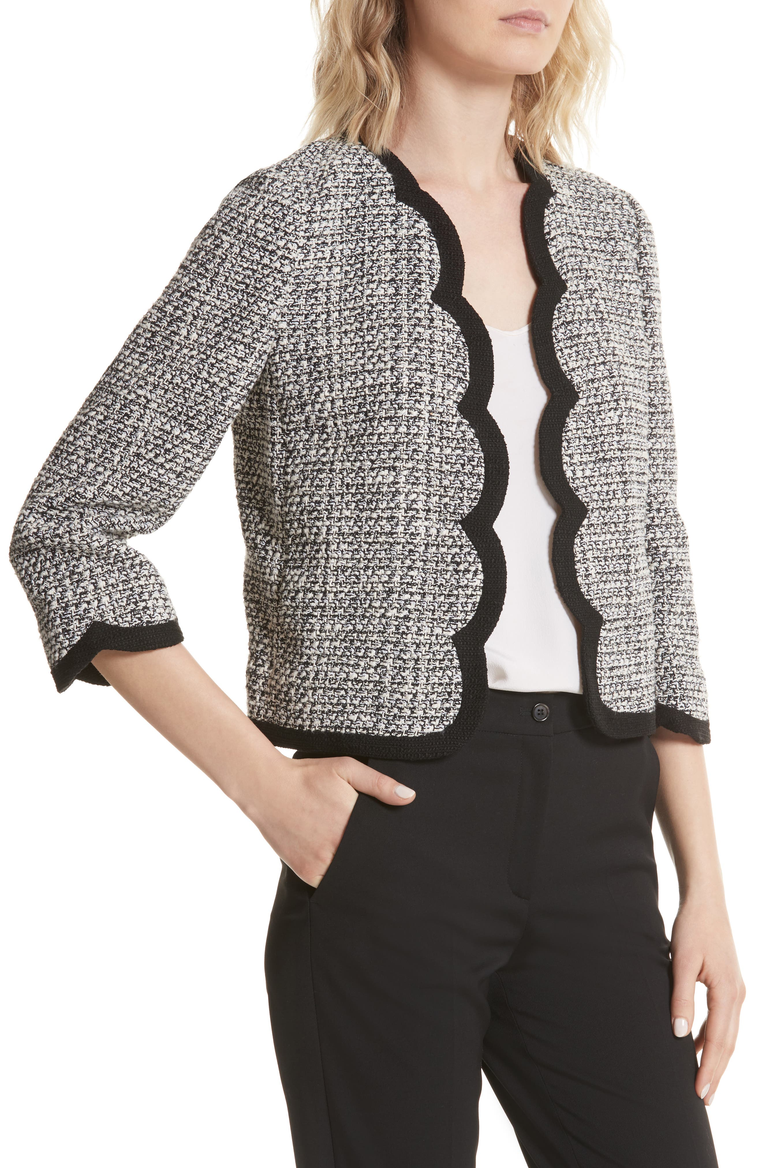 scallop tweed jacket,                             Alternate thumbnail 4, color,                             Black/ Cream
