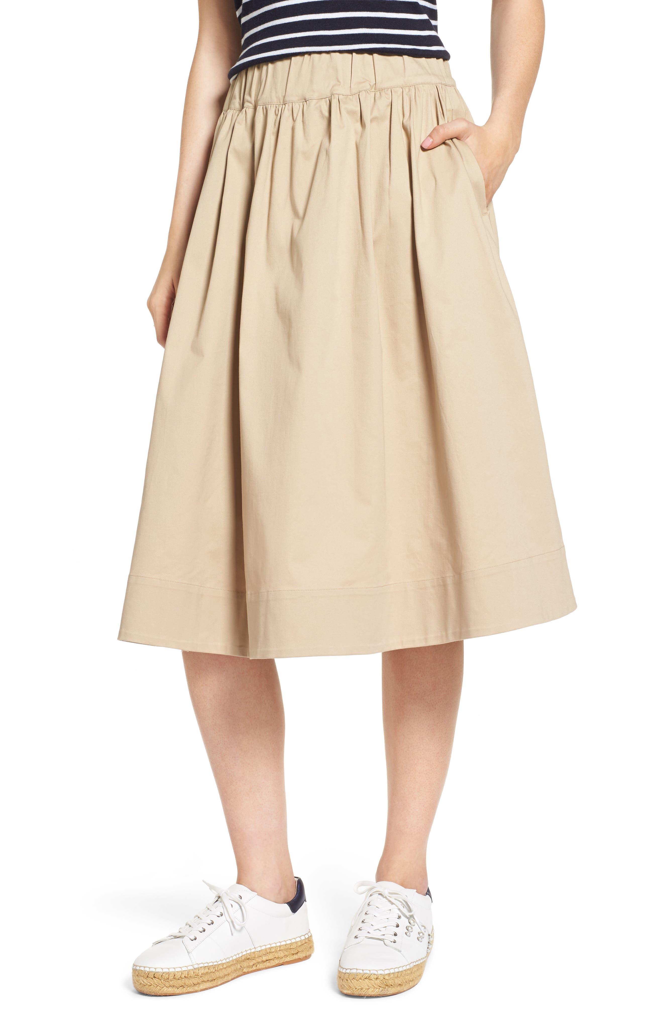 Tea Length High Waist Skirt