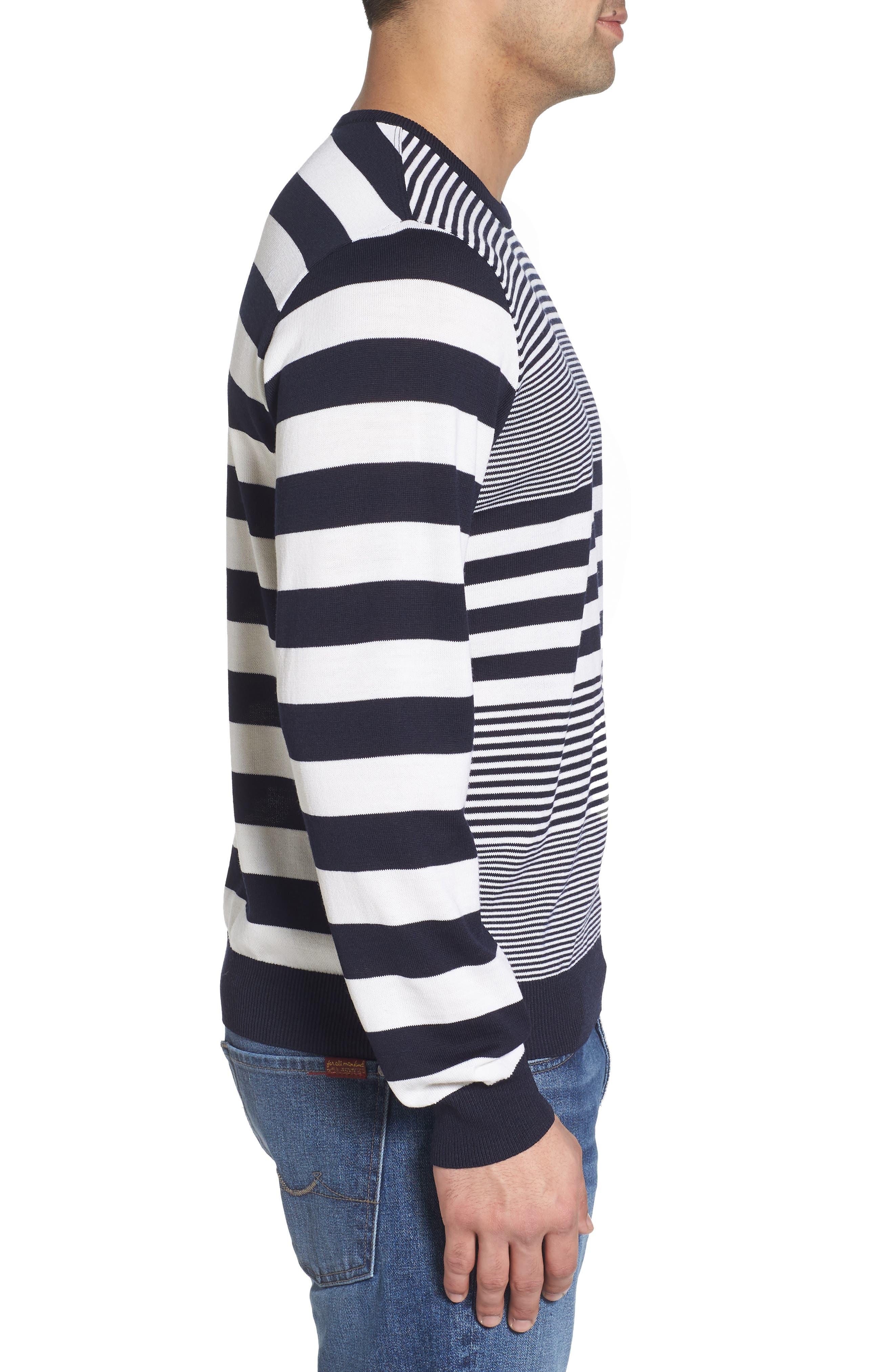 Paul&Shark Stripe Wool Sweater,                             Alternate thumbnail 3, color,                             Navy/ White