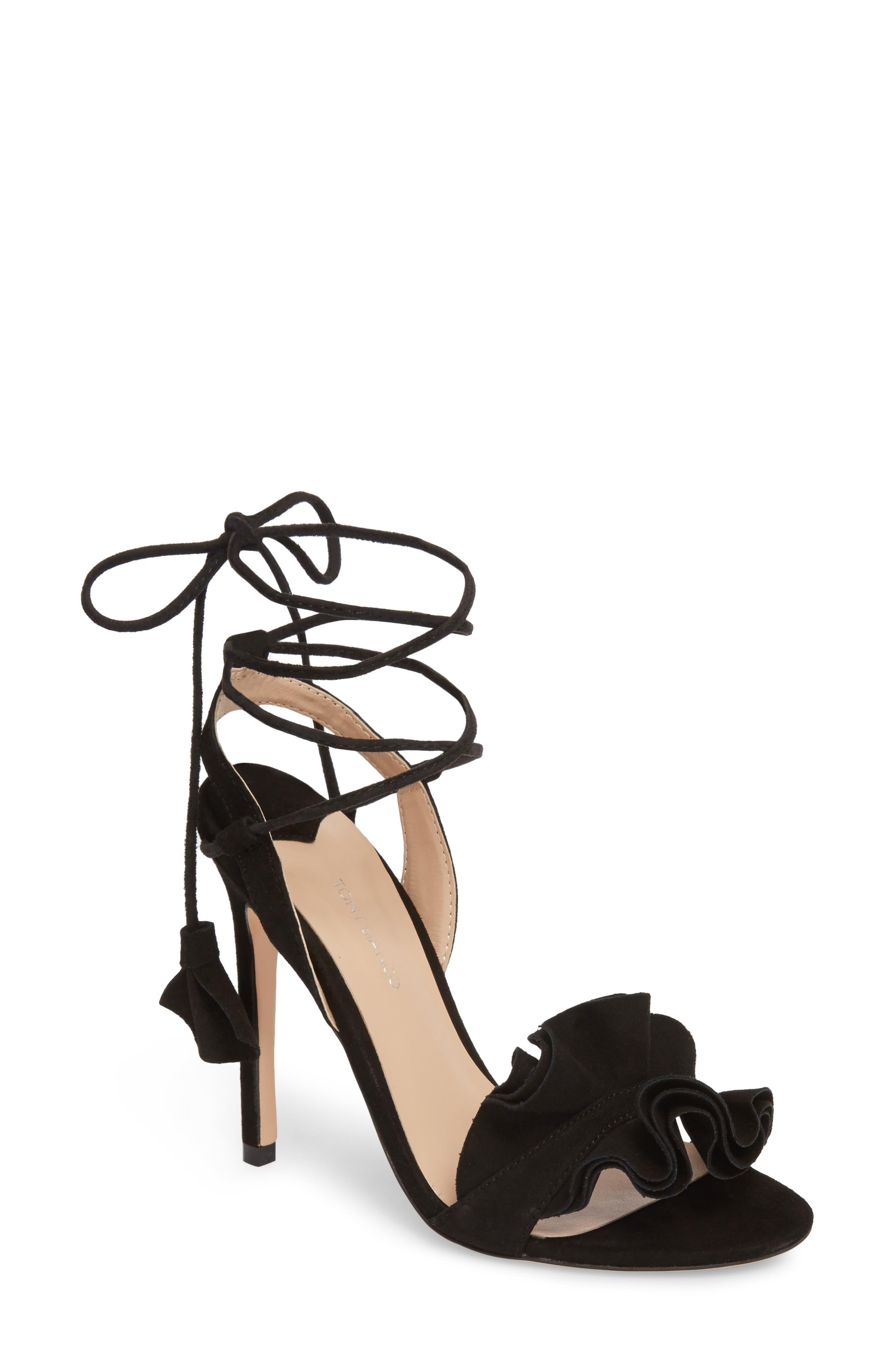 Kalipso Ruffled Wraparound Sandal,                             Main thumbnail 1, color,                             Black Suede