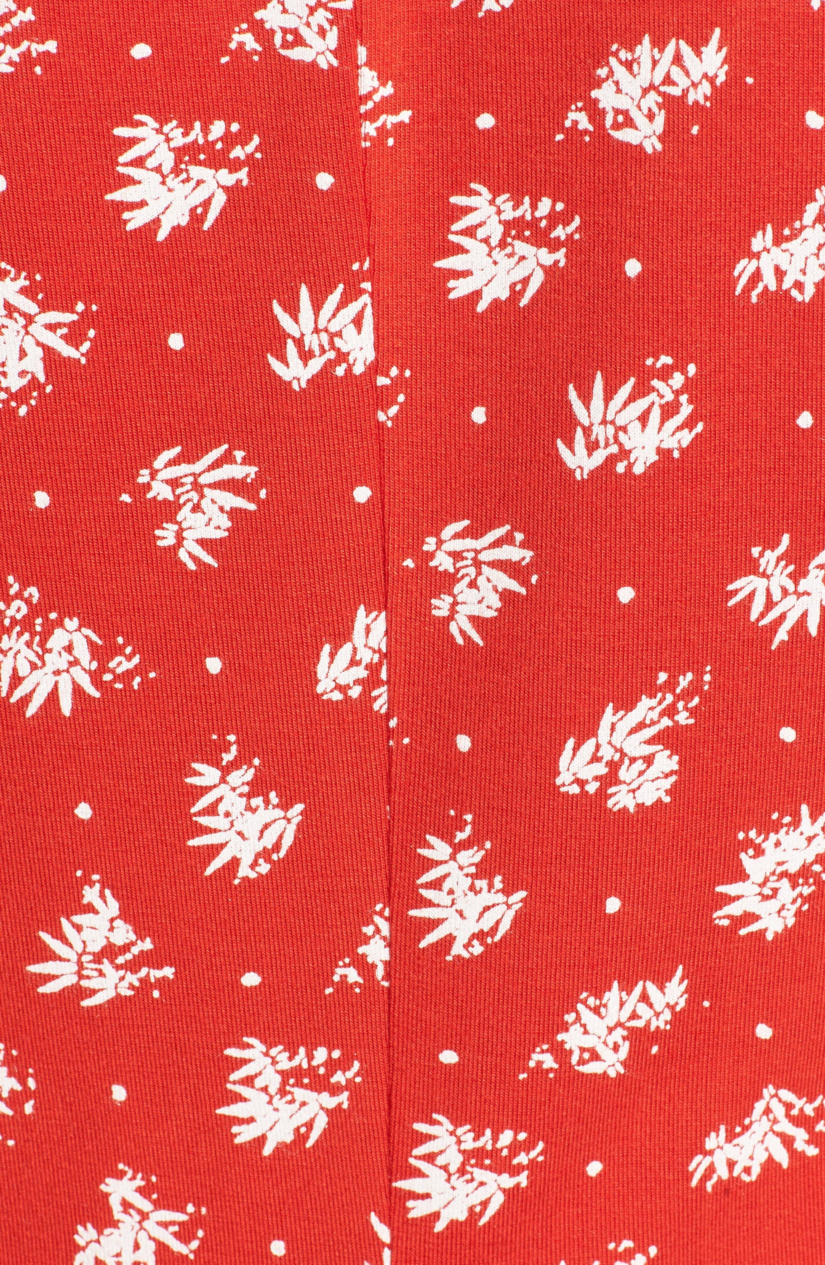 Ella Print Dress,                             Alternate thumbnail 5, color,                             Fiery Red