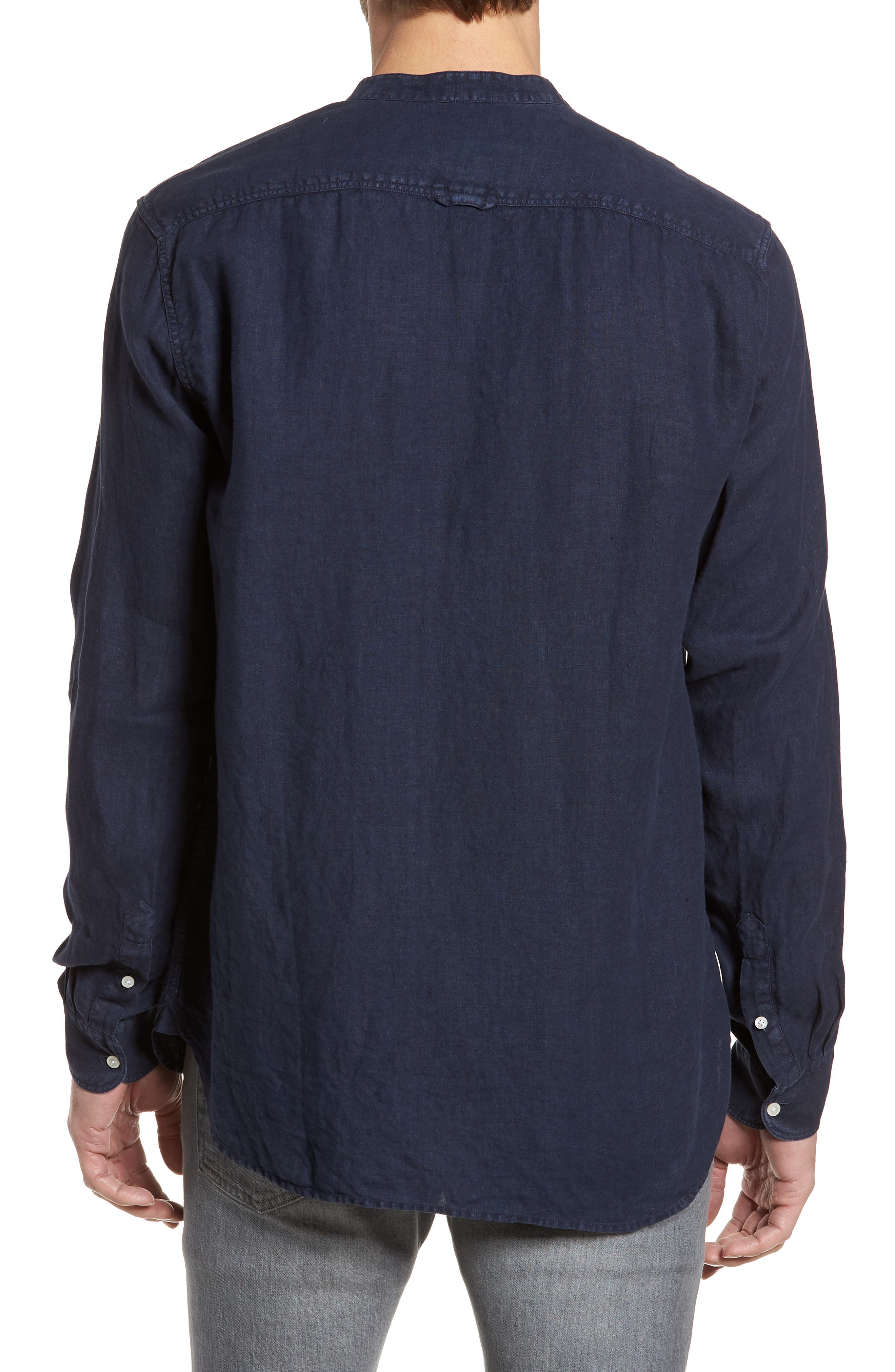 & Bros. Regular Fit Band Collar Linen Shirt,                             Alternate thumbnail 2, color,                             Mood Indigo