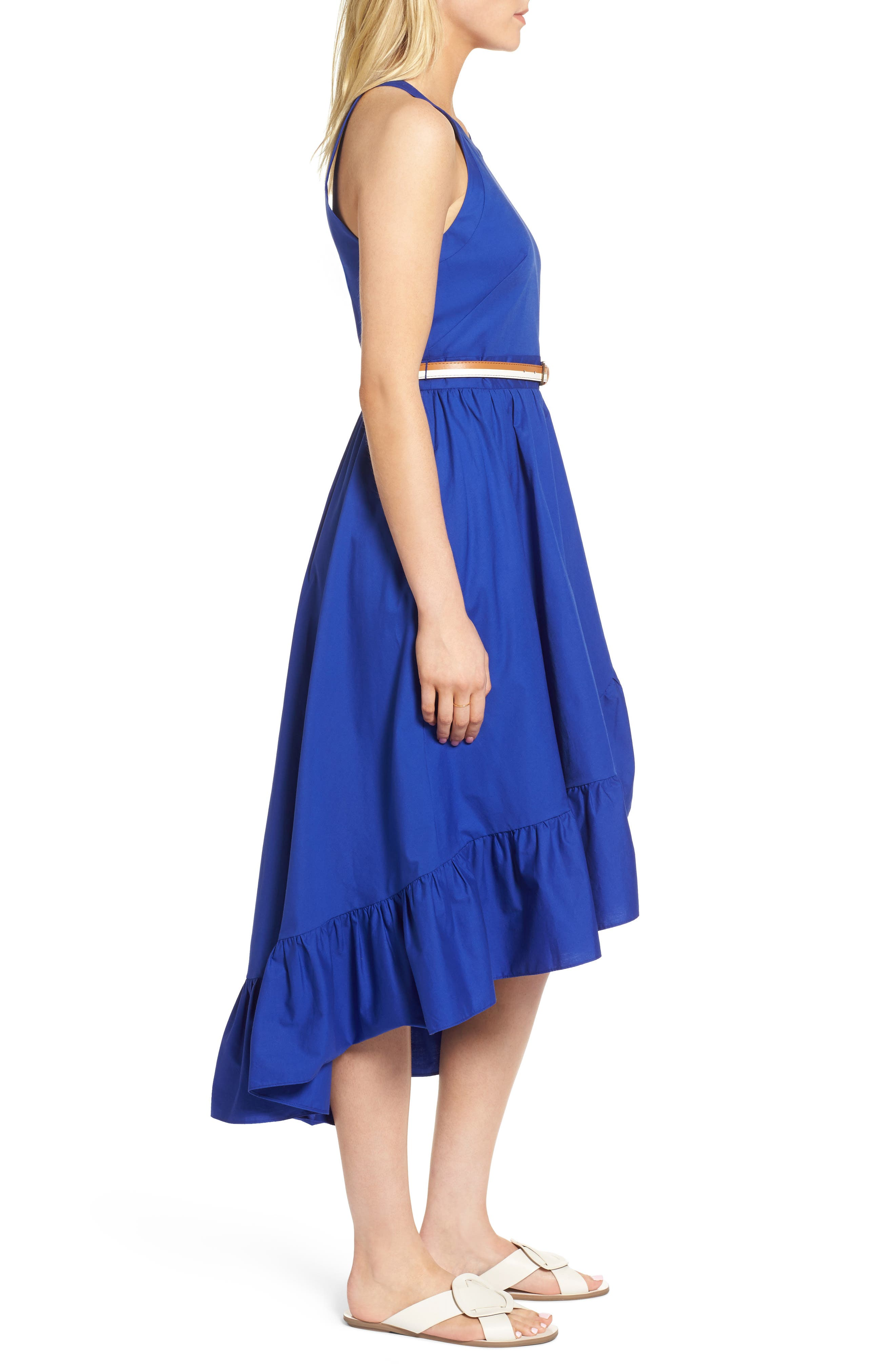 Belted High/Low Dress,                             Alternate thumbnail 3, color,                             Blue Mazarine