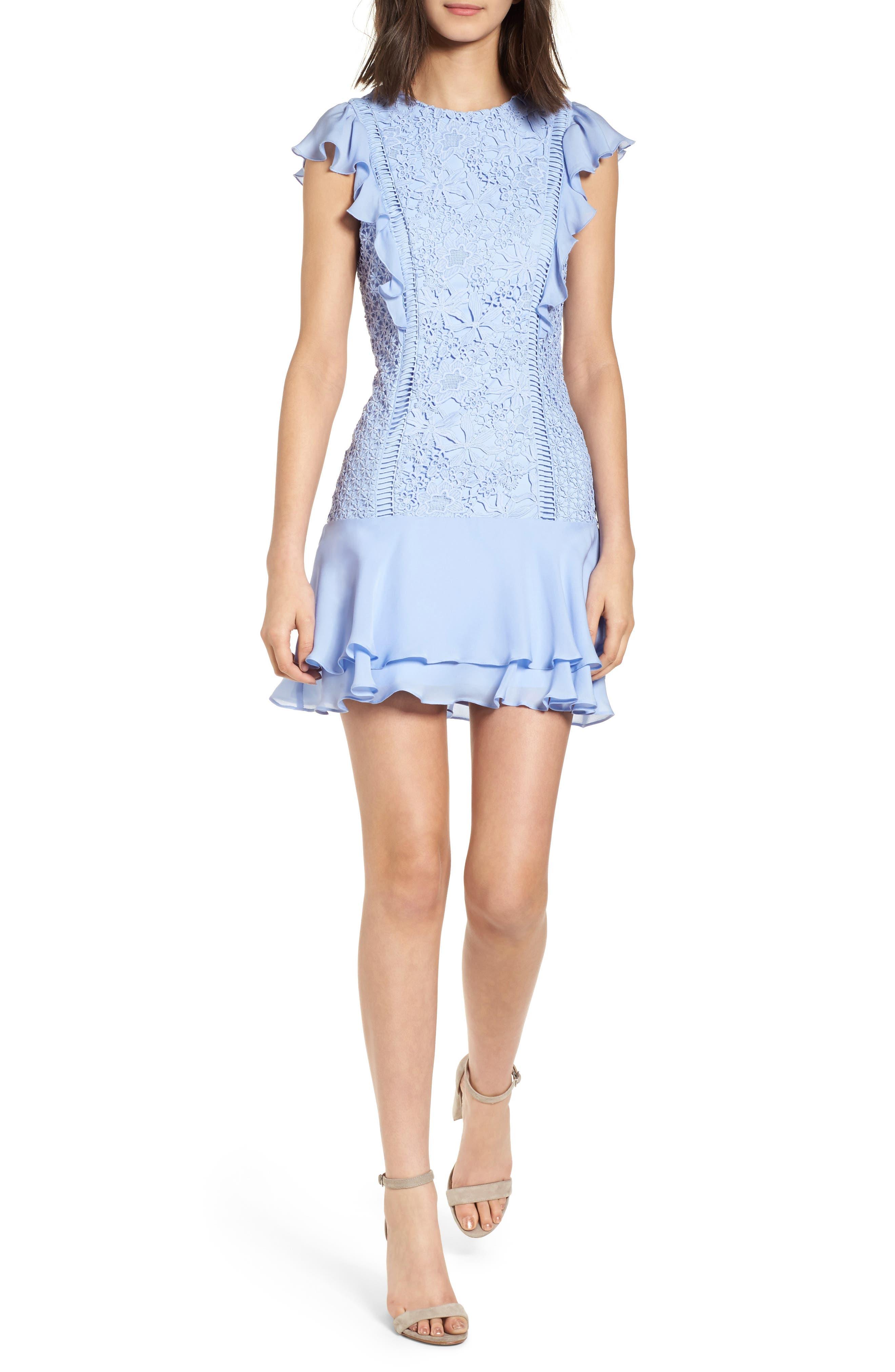 Bennett Lace Minidress,                         Main,                         color, Lilac Breeze
