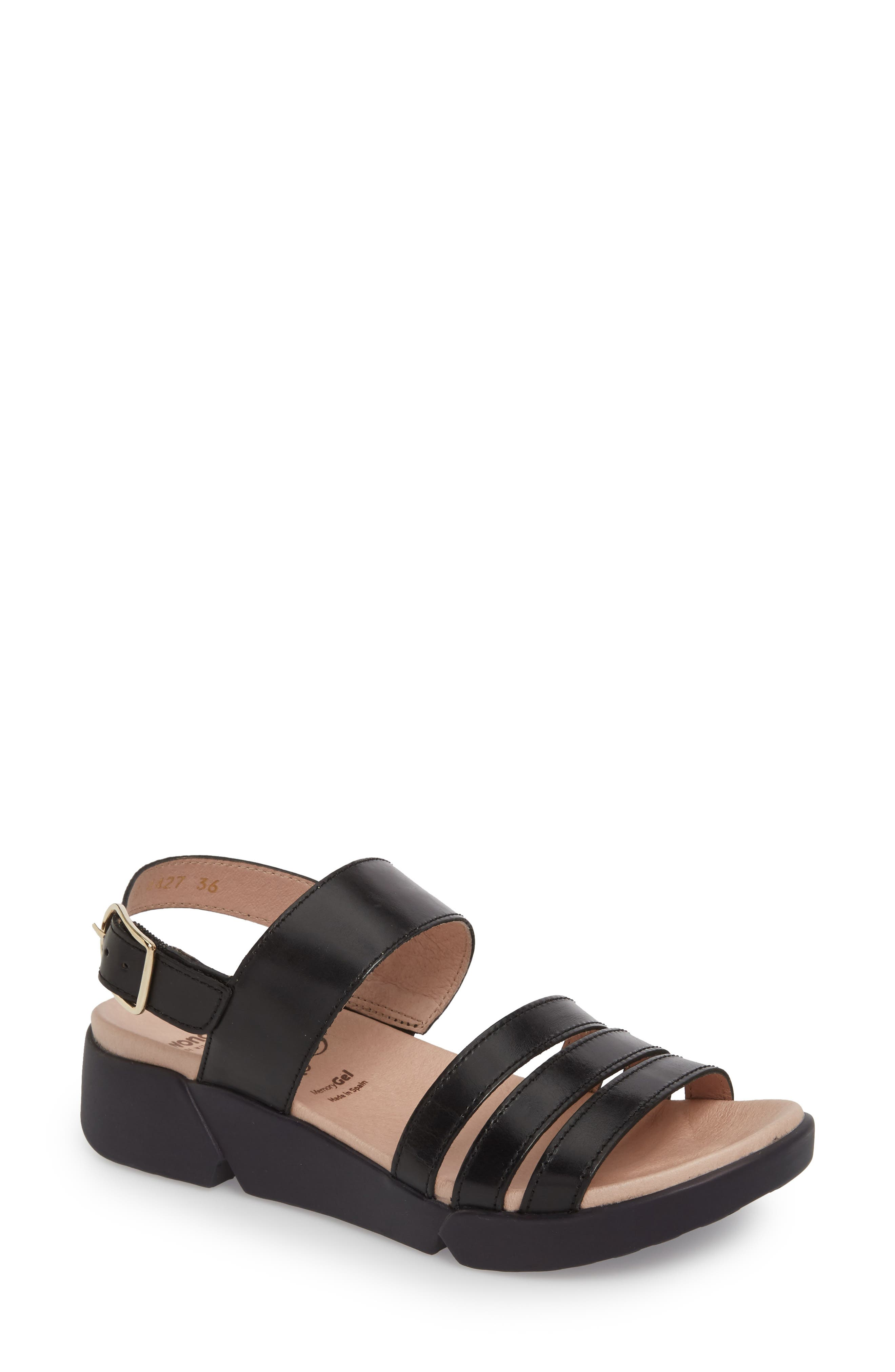 A-8004 Sandal,                         Main,                         color, Black Leather