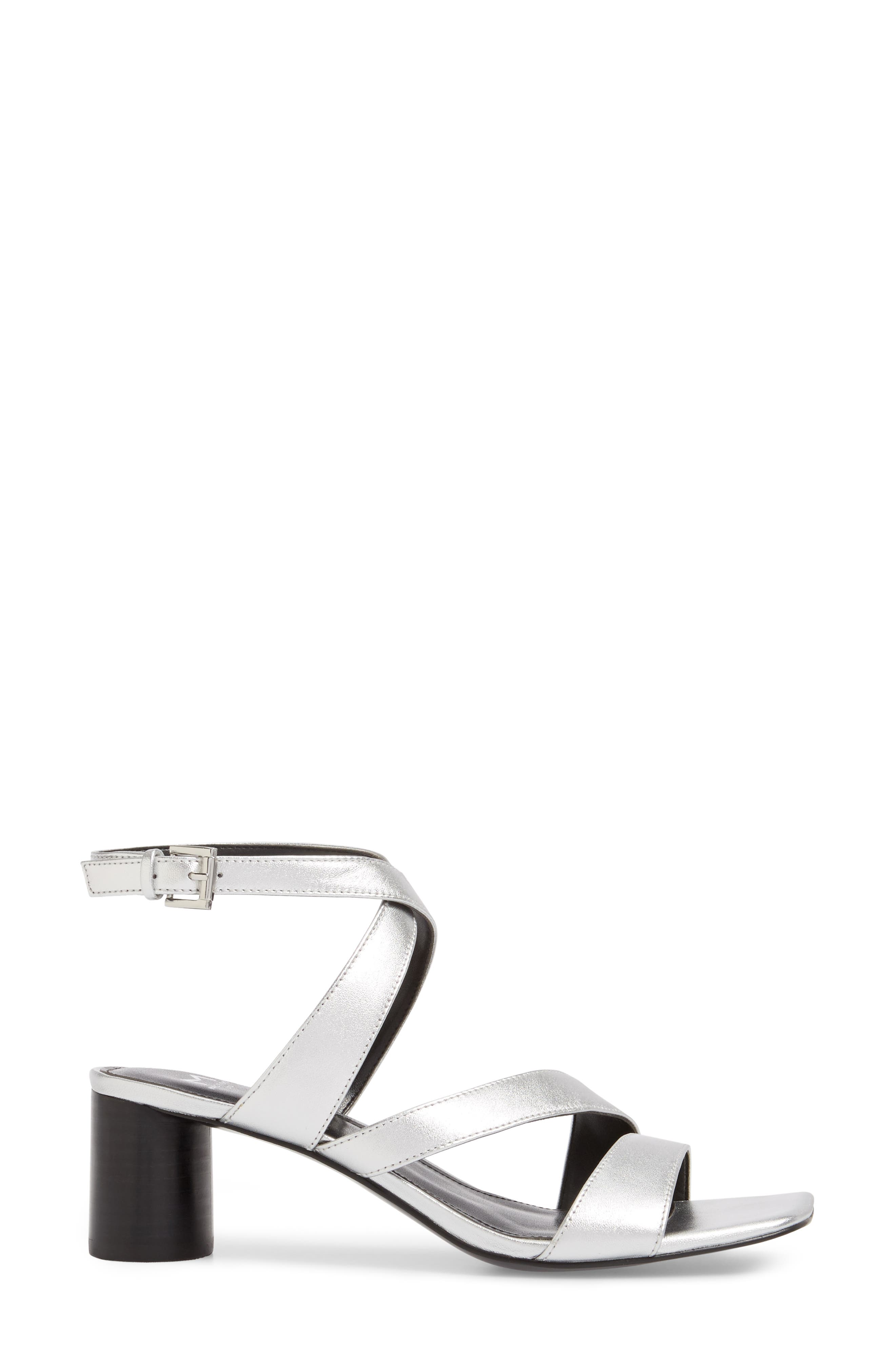Marc Fischer LTD Idana Strappy Sandal,                             Alternate thumbnail 3, color,                             Silver Leather