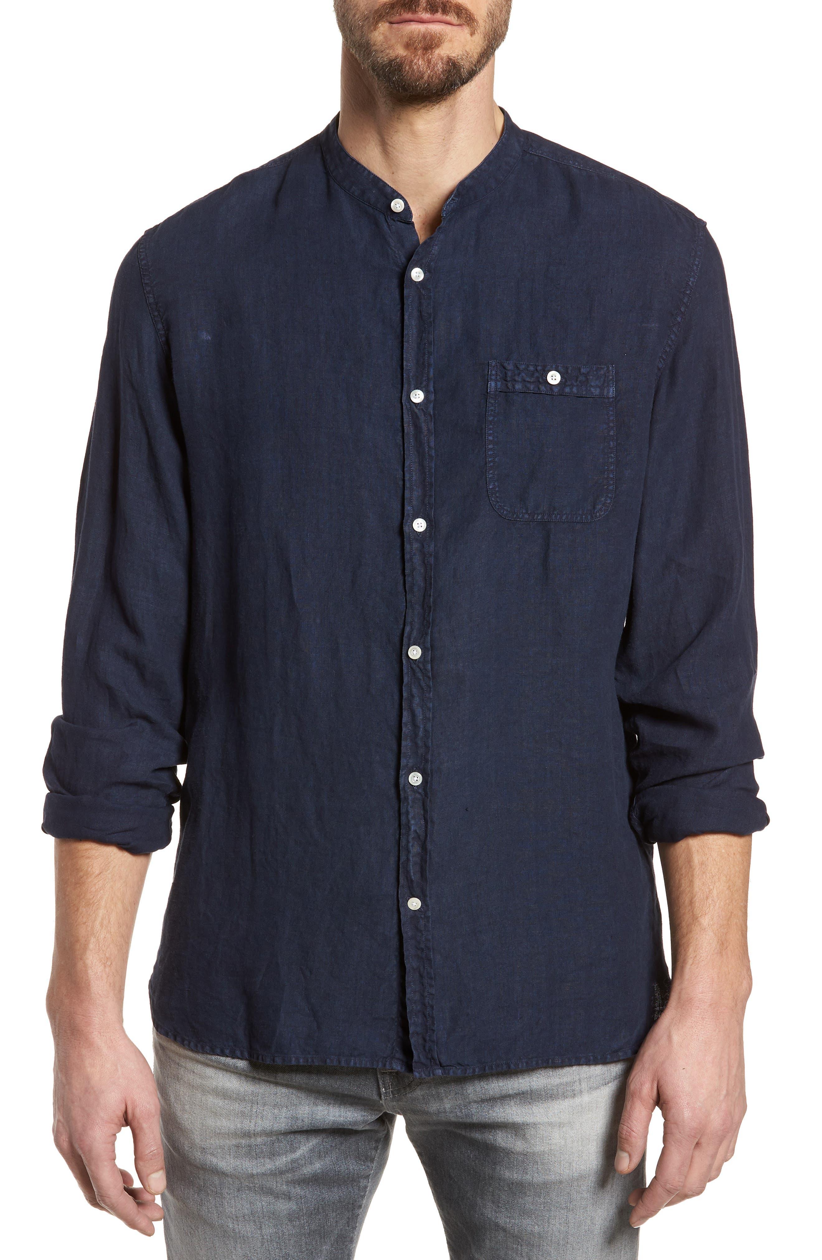 & Bros. Regular Fit Band Collar Linen Shirt,                             Main thumbnail 1, color,                             Mood Indigo