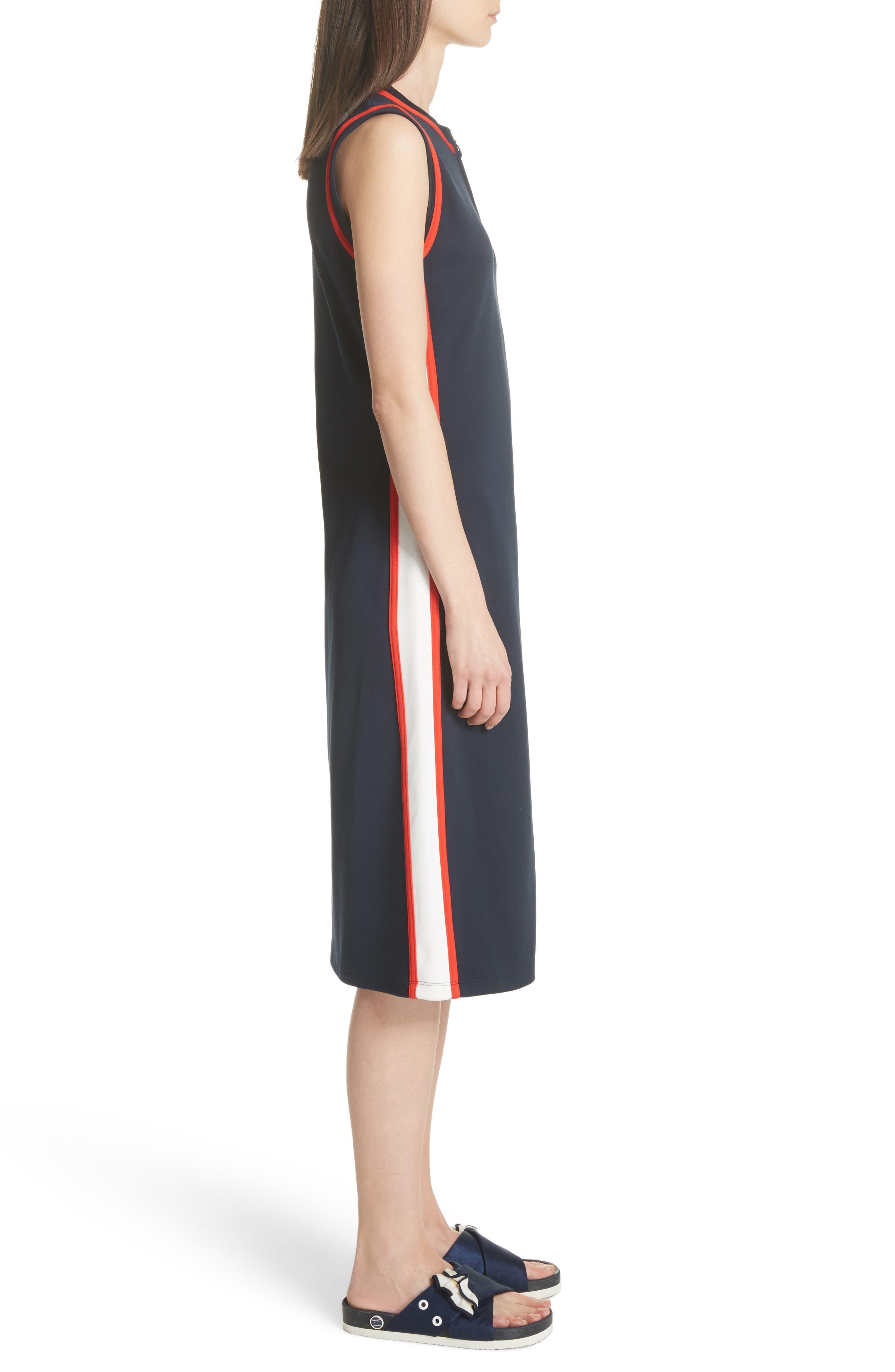 Sleeveless Track Dress,                             Alternate thumbnail 4, color,                             Tory Navy