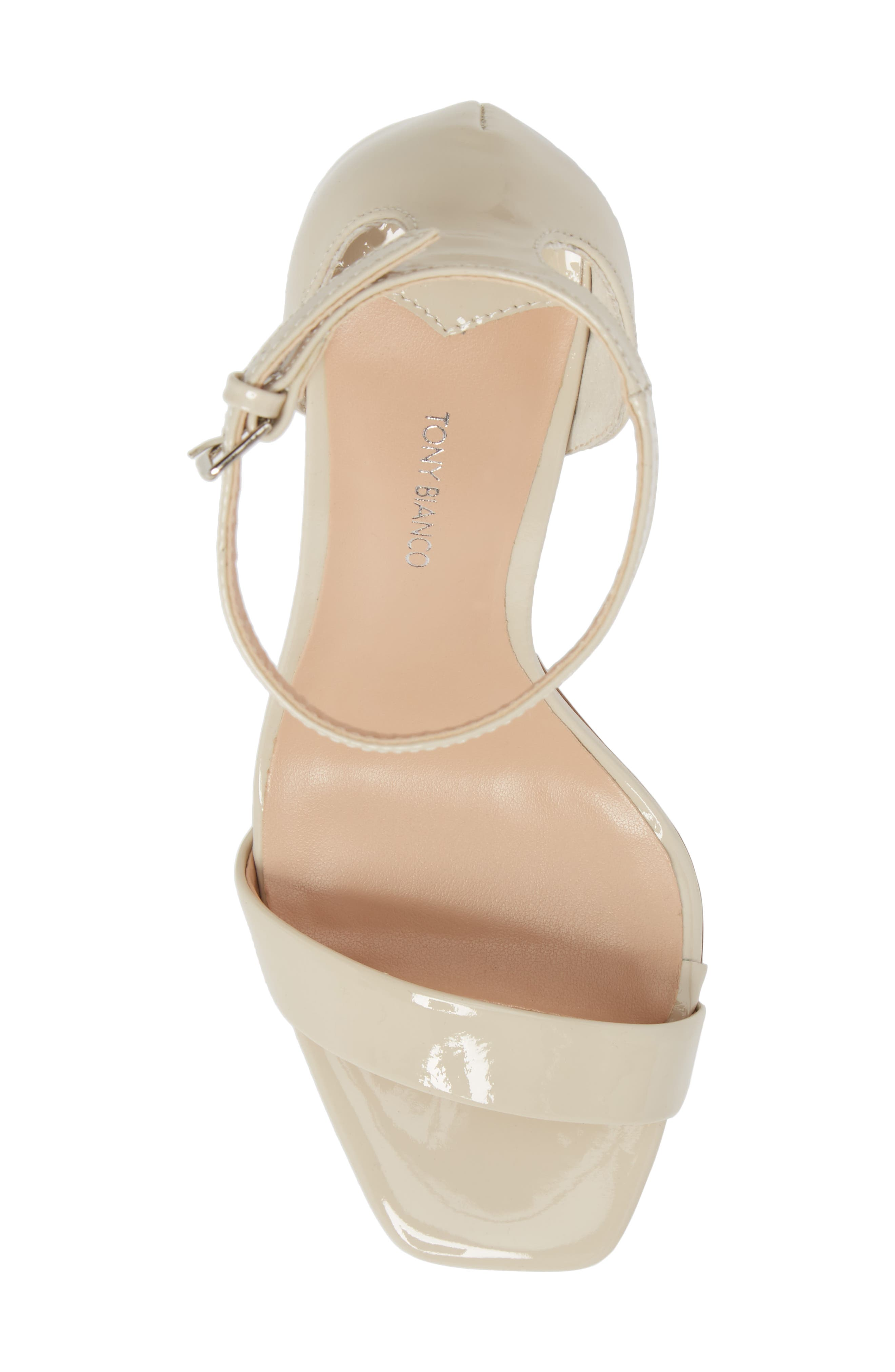 Sacha Ankle Strap Sandal,                             Alternate thumbnail 5, color,                             Oyster Patent Leather