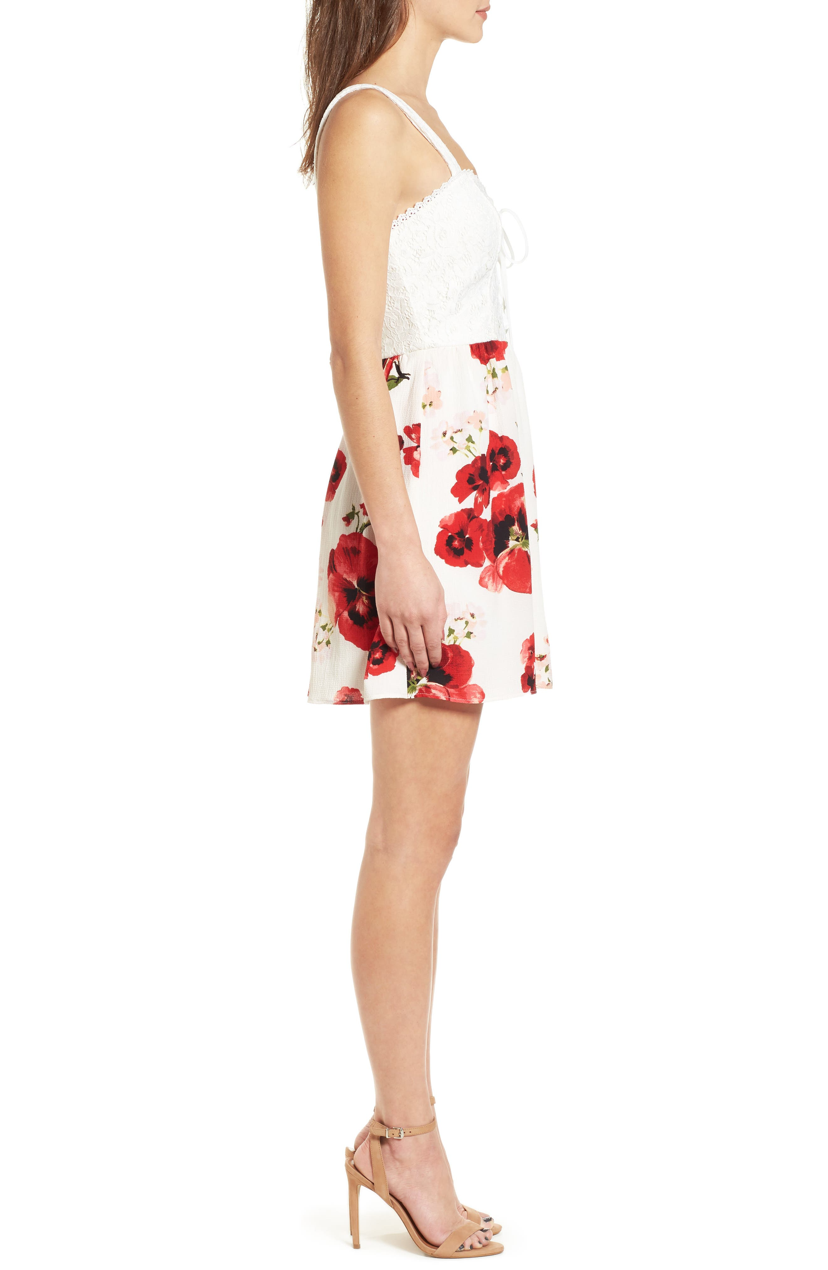Lace Floral Fit and Flare Dress,                             Alternate thumbnail 3, color,                             Ivory/ Red