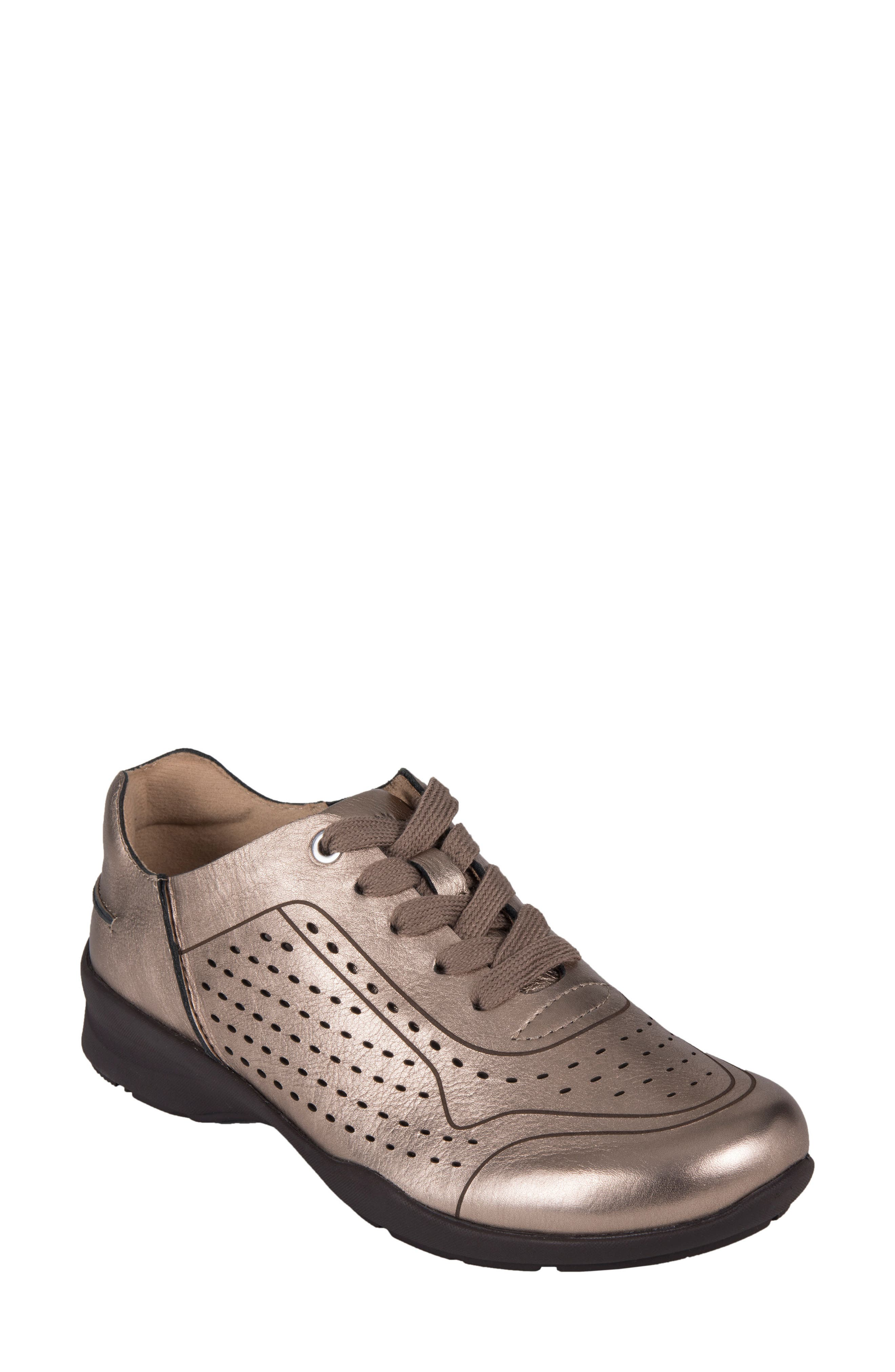 Serval Perforated Sneaker,                         Main,                         color, Champagne Metallic Leather