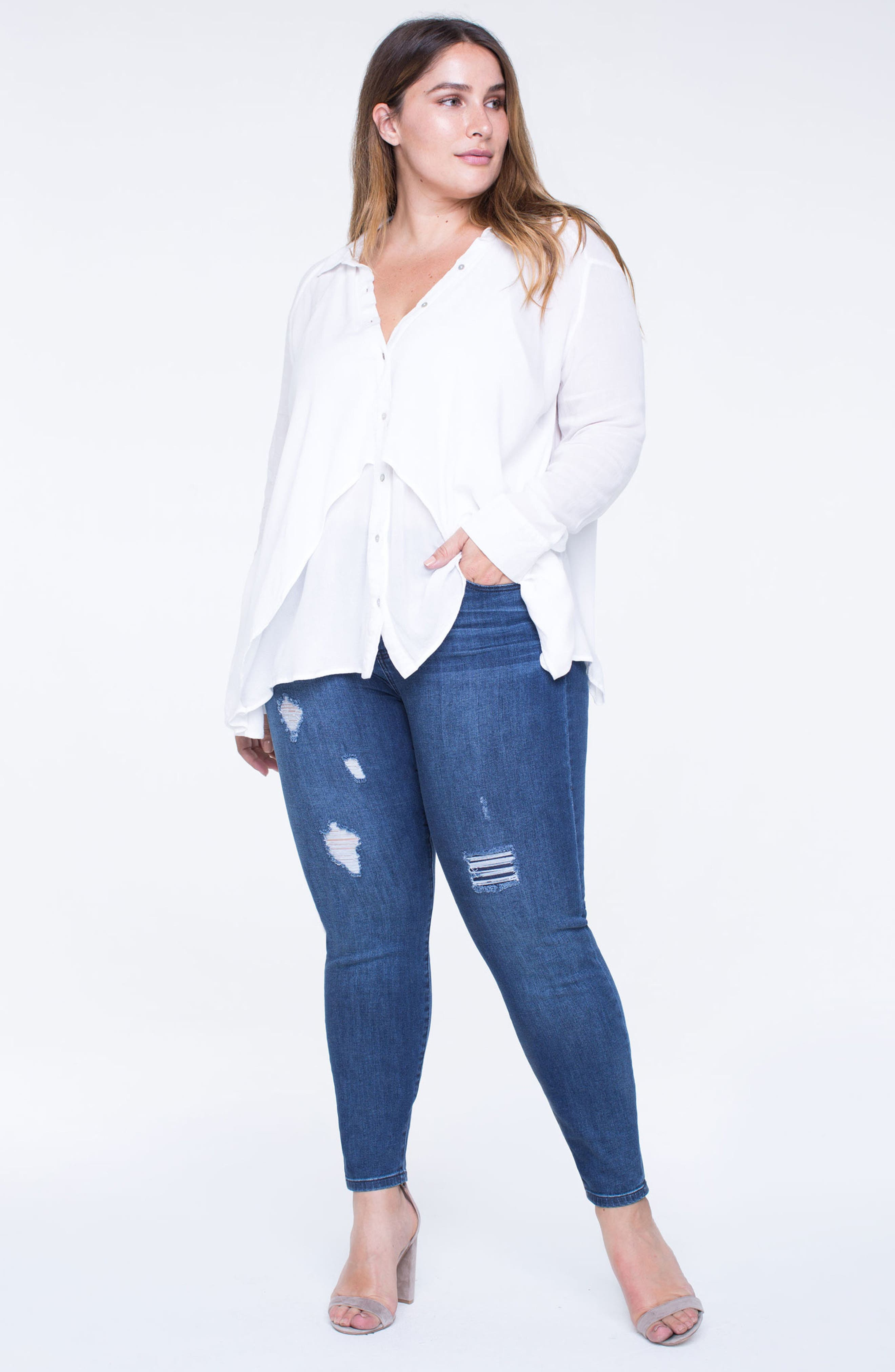Alternate Image 4  - Liverpool Jeans Company Penny Ripped Ankle Jeans (Fairmont) (Plus Size)