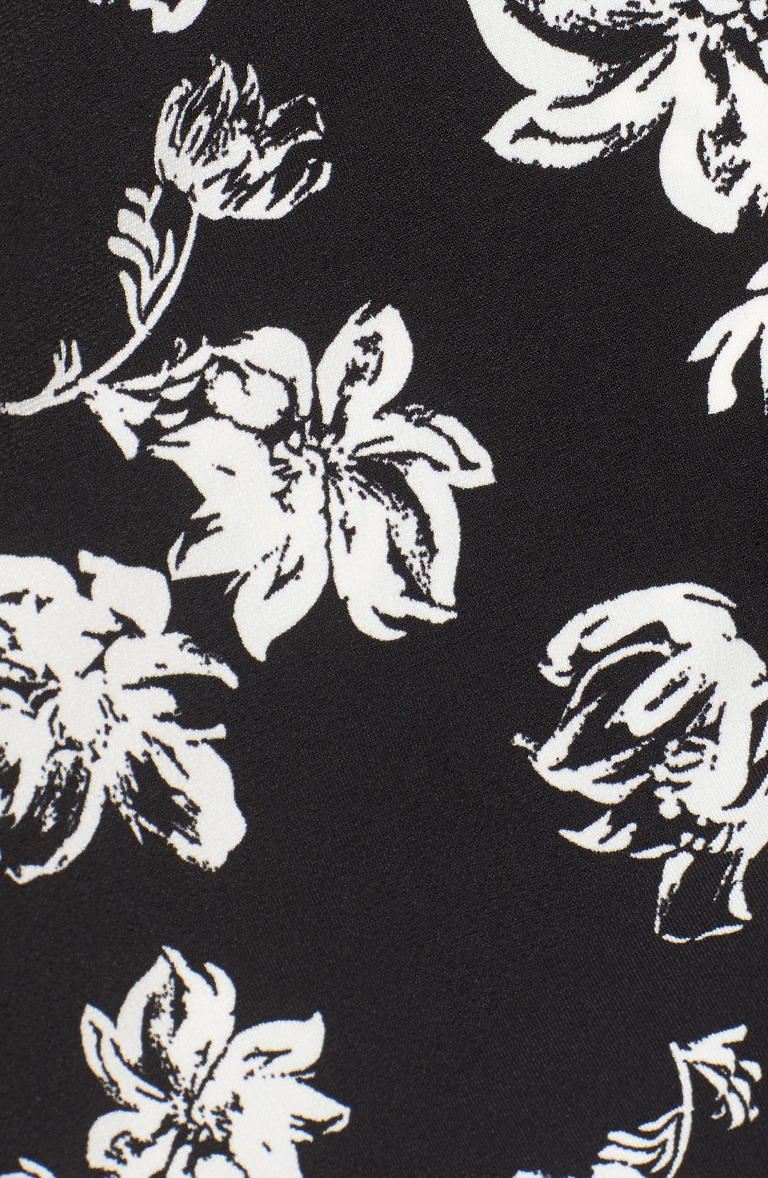 Floral Breeze Knot Front Top,                             Alternate thumbnail 5, color,                             060-Rich Black