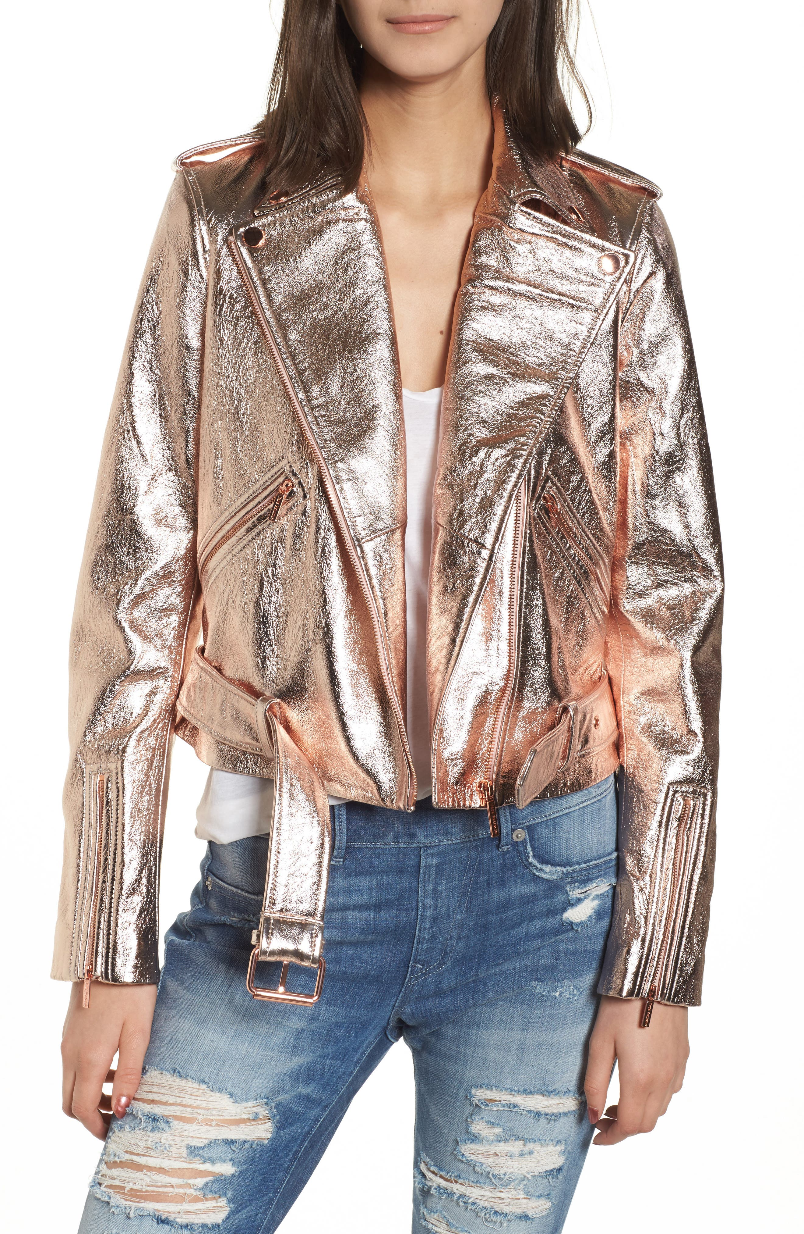 Metallic Leather Moto Jacket,                             Main thumbnail 1, color,                             Rose Gold