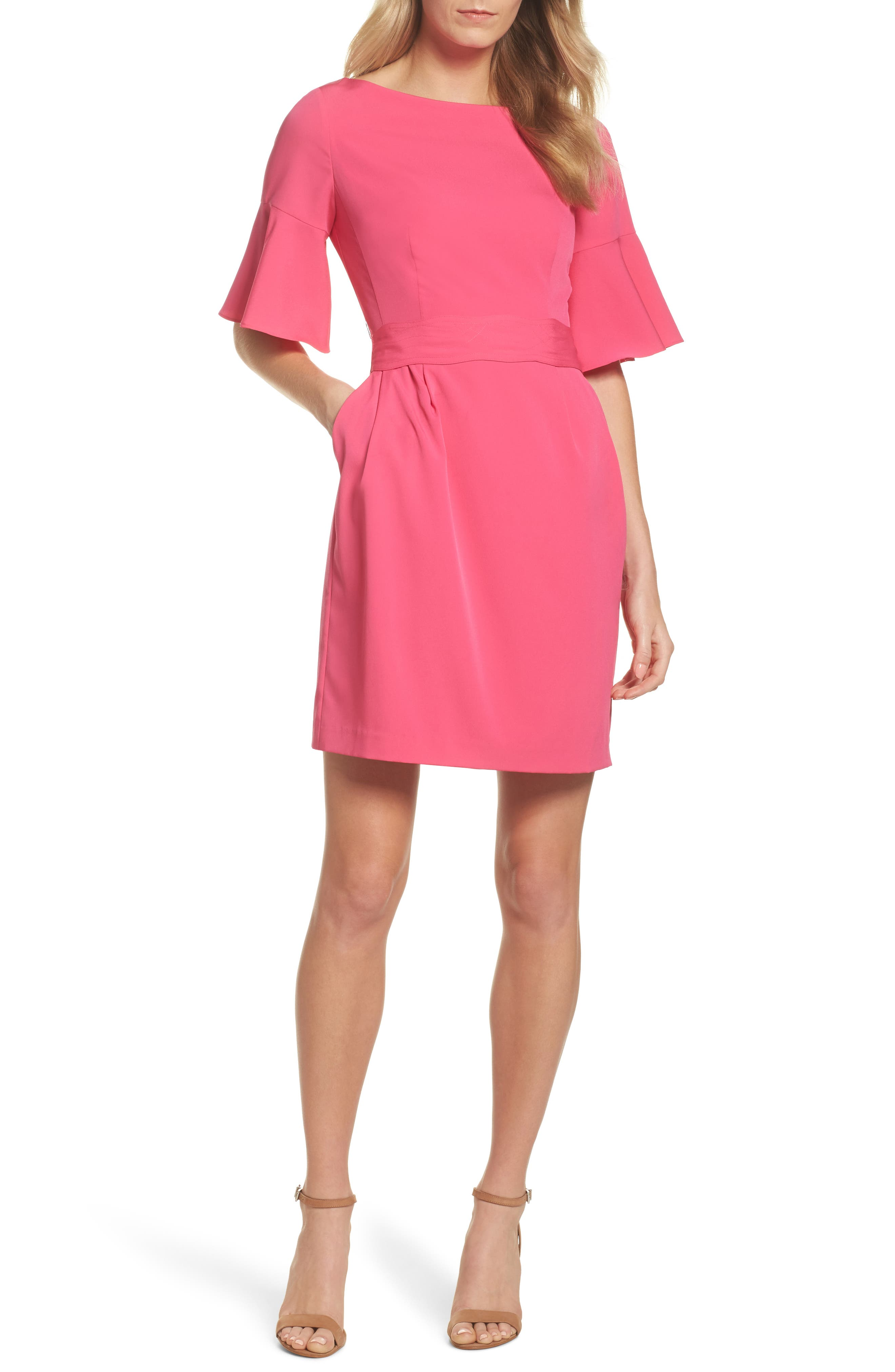 Bell Sleeve Sheath Dress,                         Main,                         color, Light Poppy/ Sandalwood