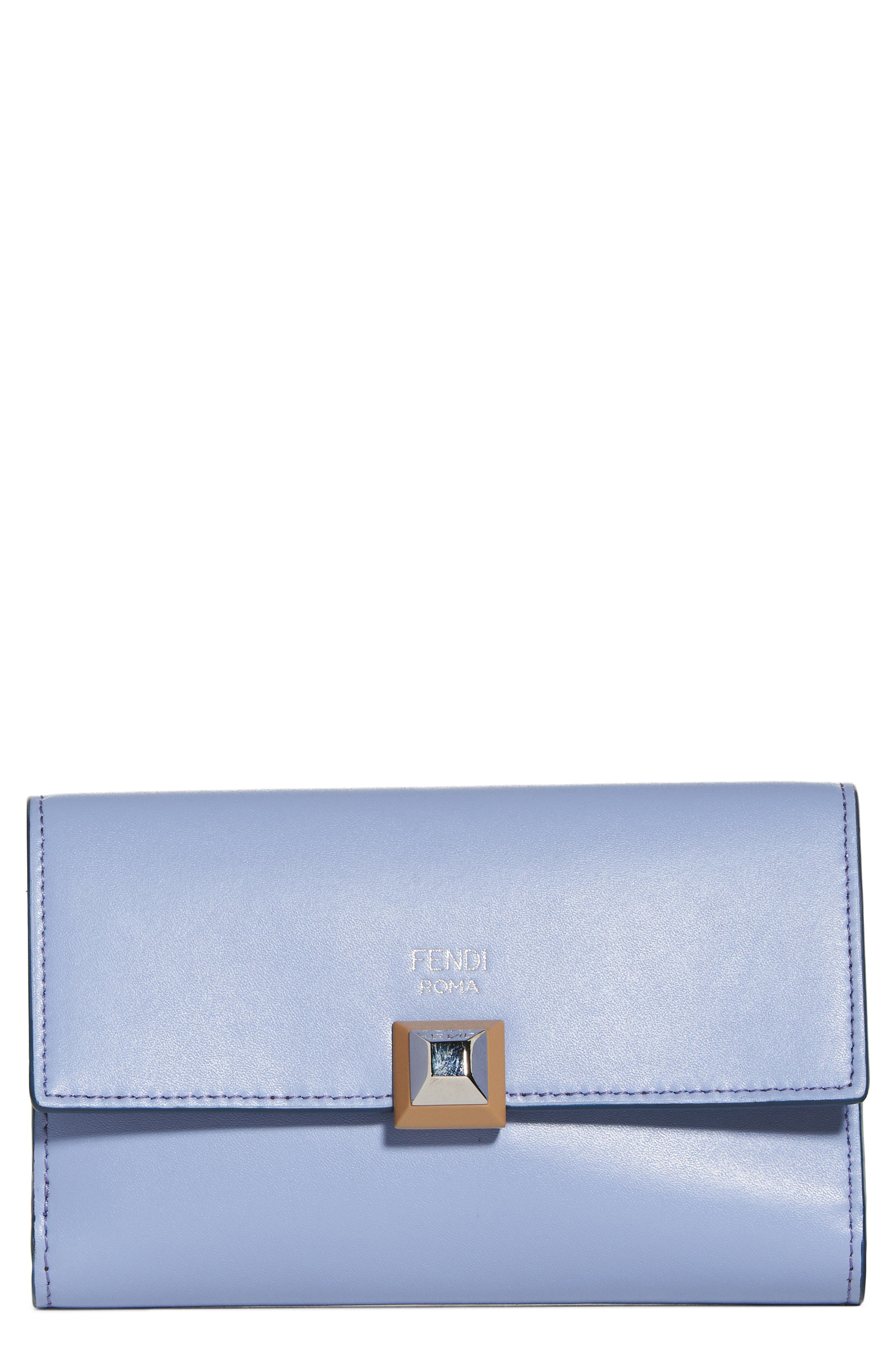 Medium Leather Wallet,                             Main thumbnail 1, color,                             Sky